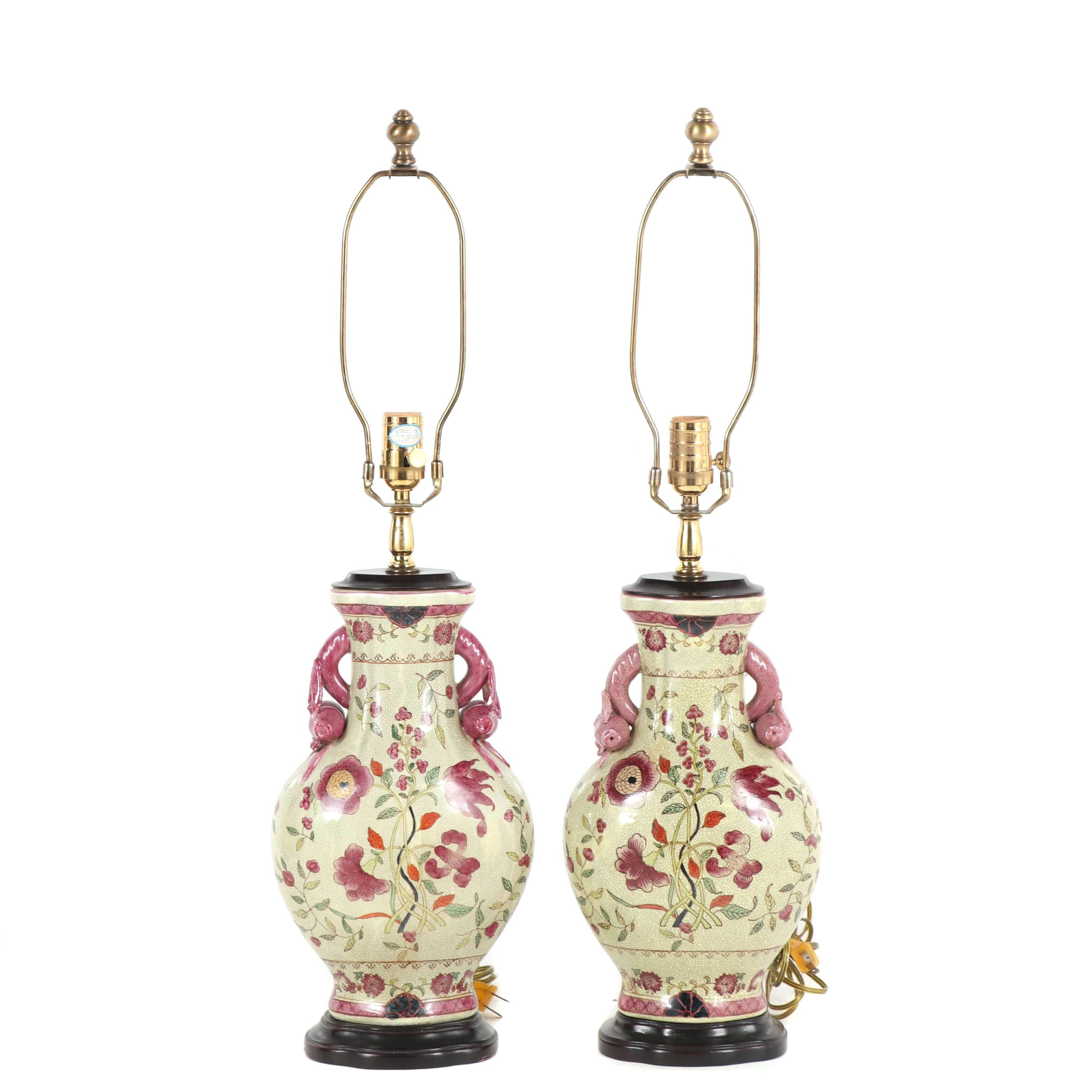 Chinese Style Famille Rose Porcelain Table Lamps