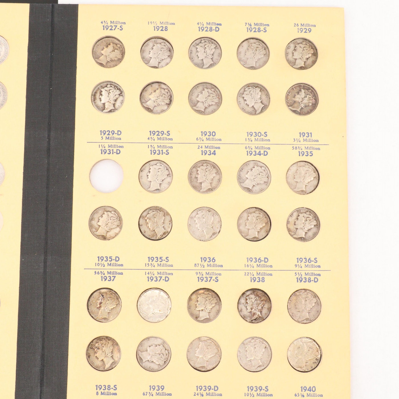 Binder Of Mercury Silver Dimes, 1916 To 1945