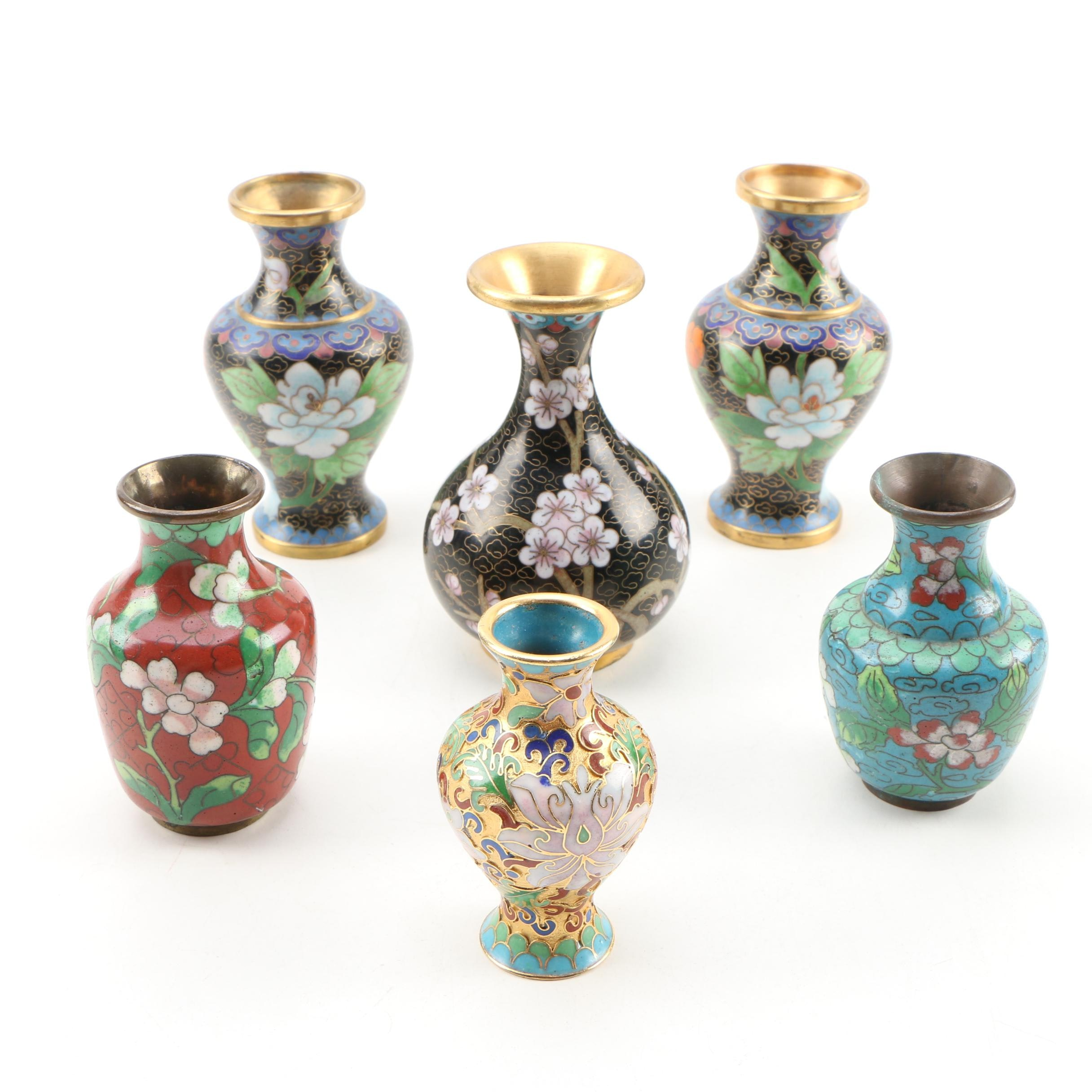 Chinese Cloisonné Miniature and Bud Vases