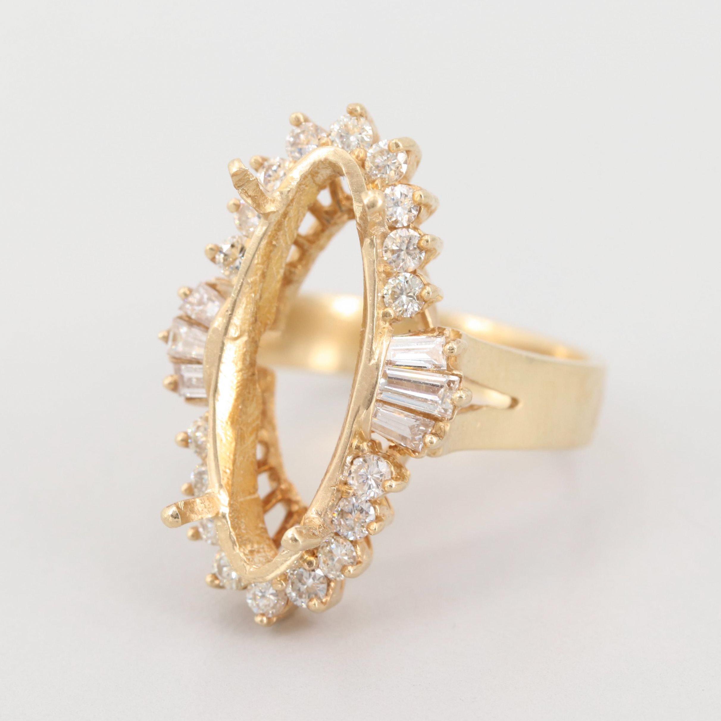 14K Yellow Gold 1.39 CTW Diamond Semi-Mount Ring