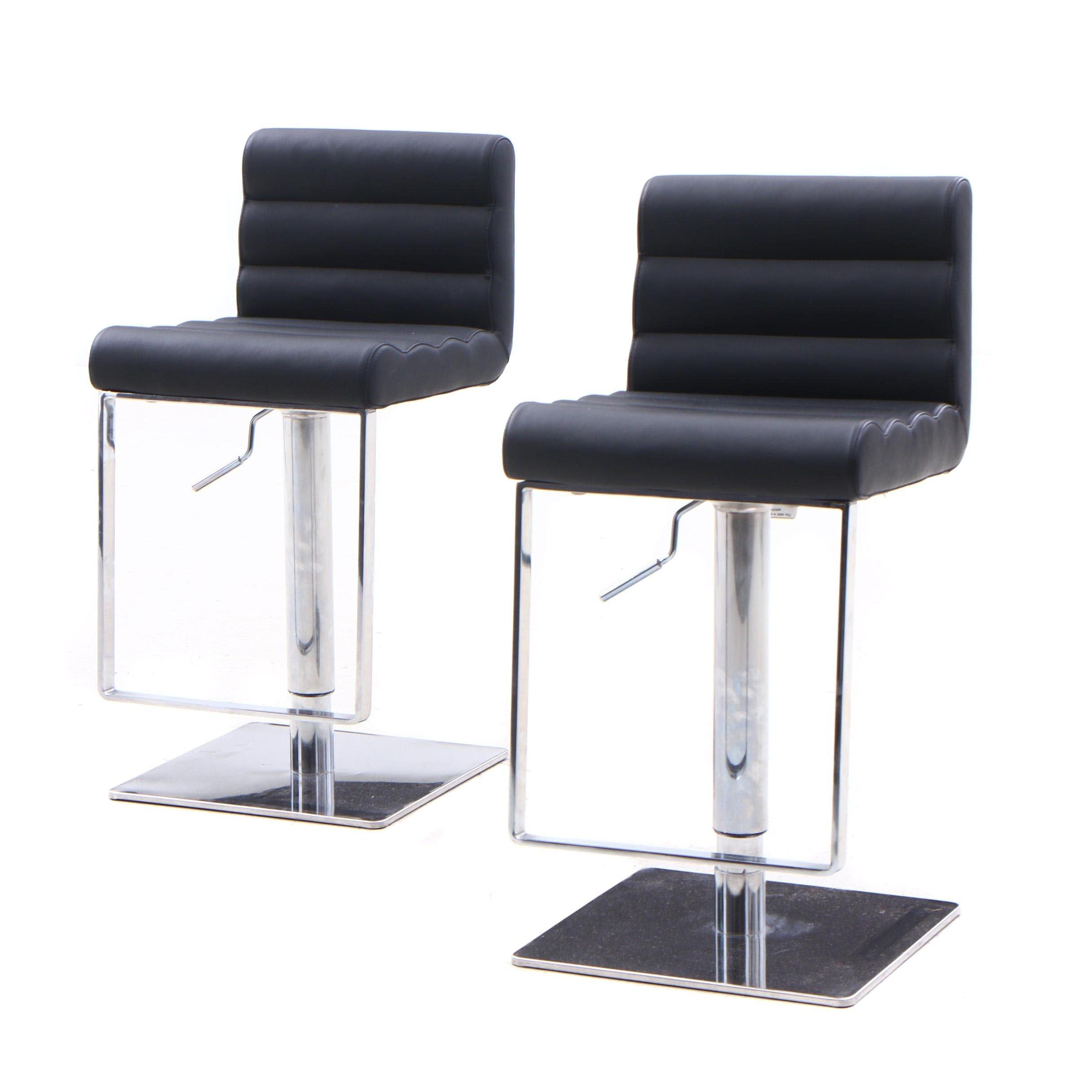 Contemporary Modern Upholstered Chrome Base Swivel Bar Stools