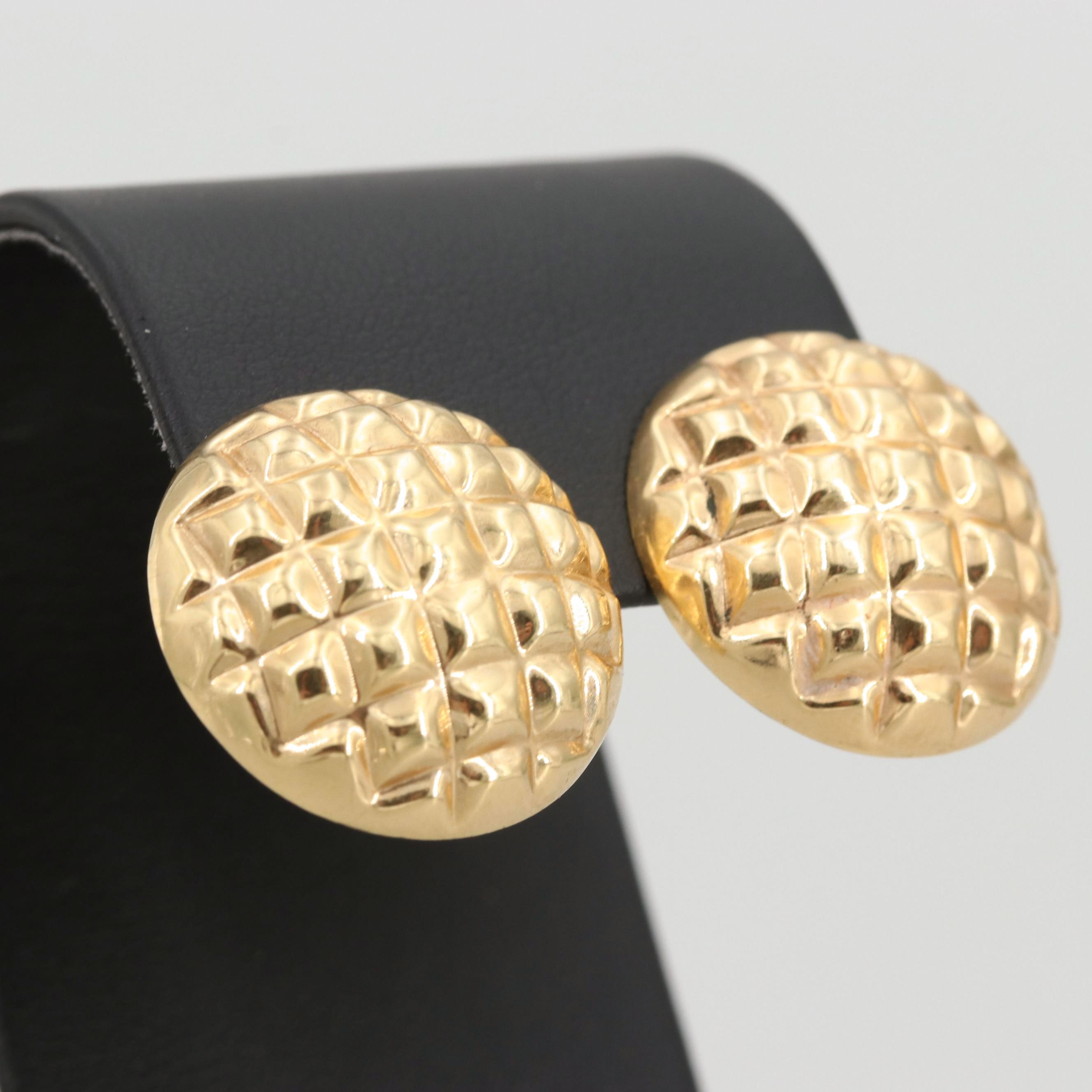 14K Yellow Gold Quilted Earrings