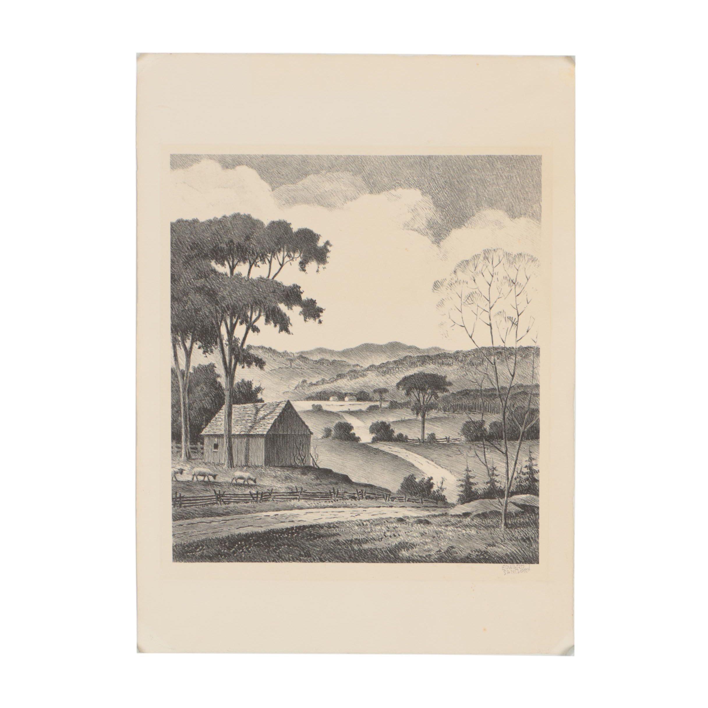 Edward Sanborn Lithograph of Rural Landscape