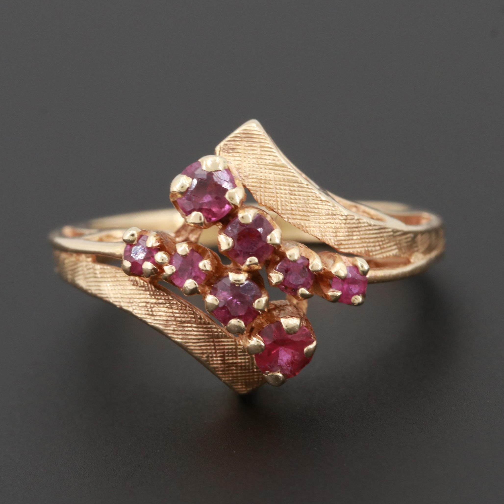14K Yellow Gold Untreated Ruby Bypass Ring
