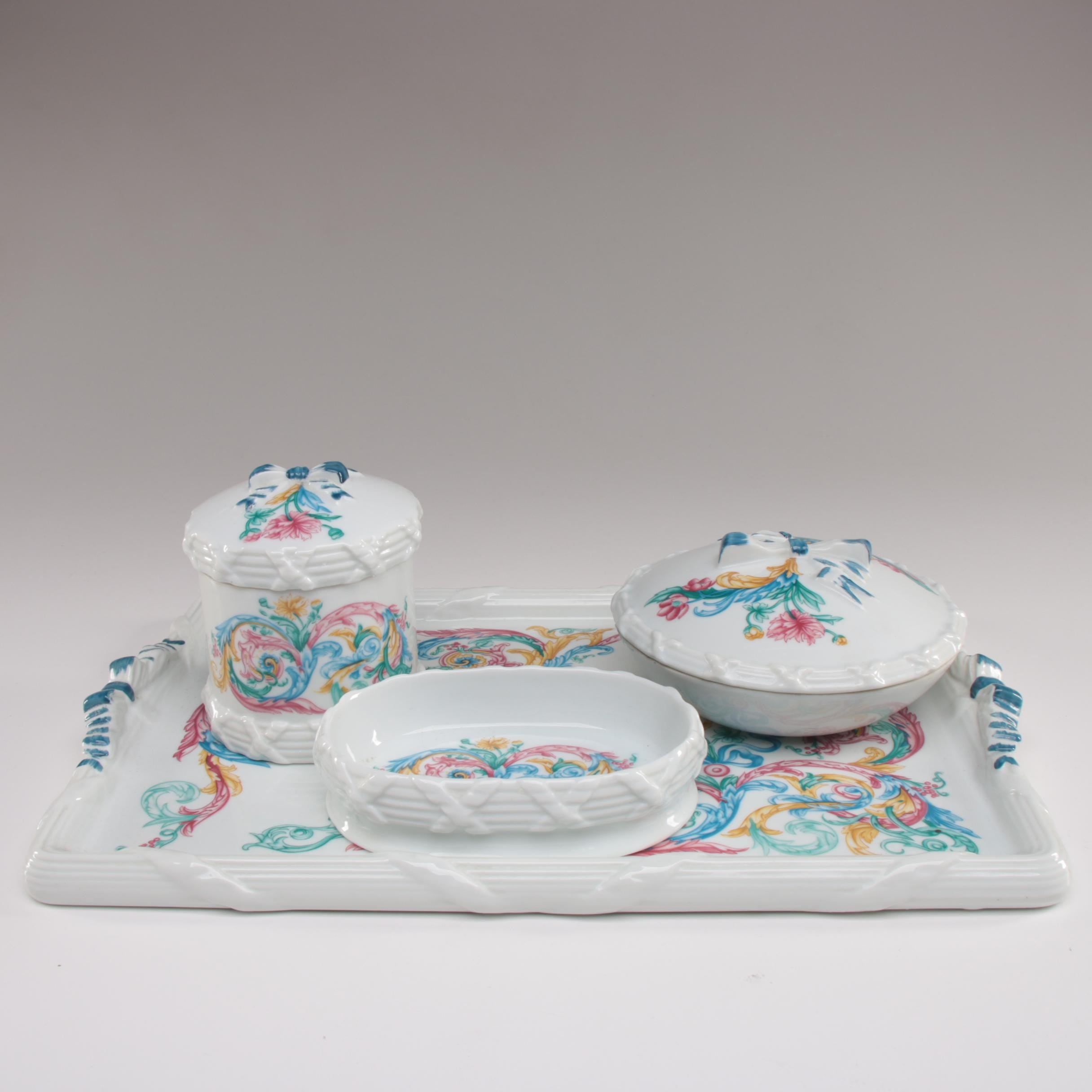 """Elizabeth Arden """"Palais de Versailles"""" Porcelain Vanity Set"""