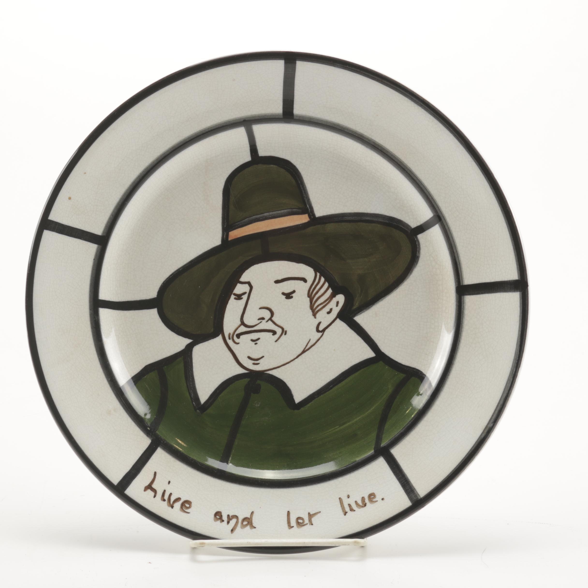 "Bristol Pottery ""Leaded Lights"" Dinner Plate ""Live and Let Live"""