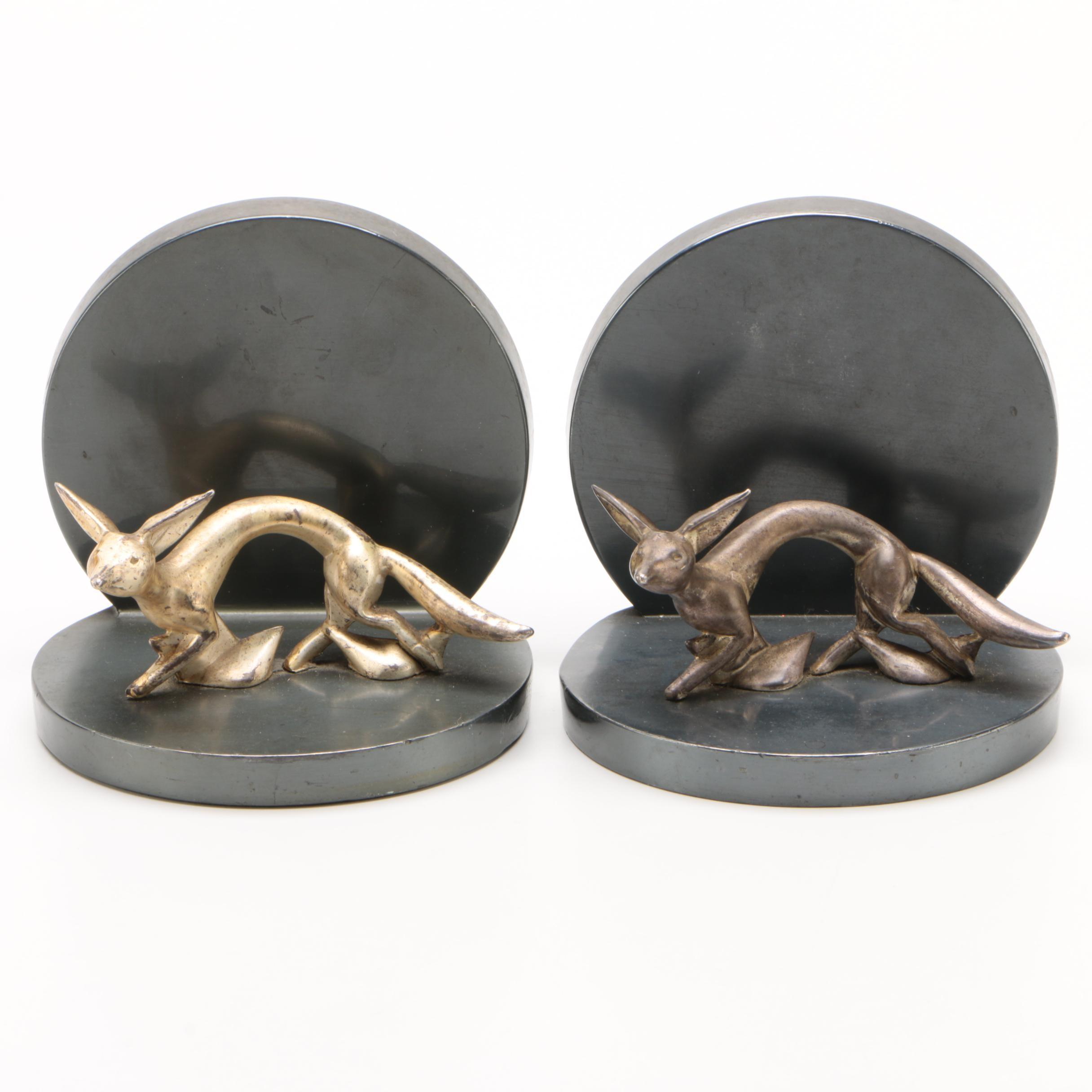 Minimalist Metal Fox Bookends