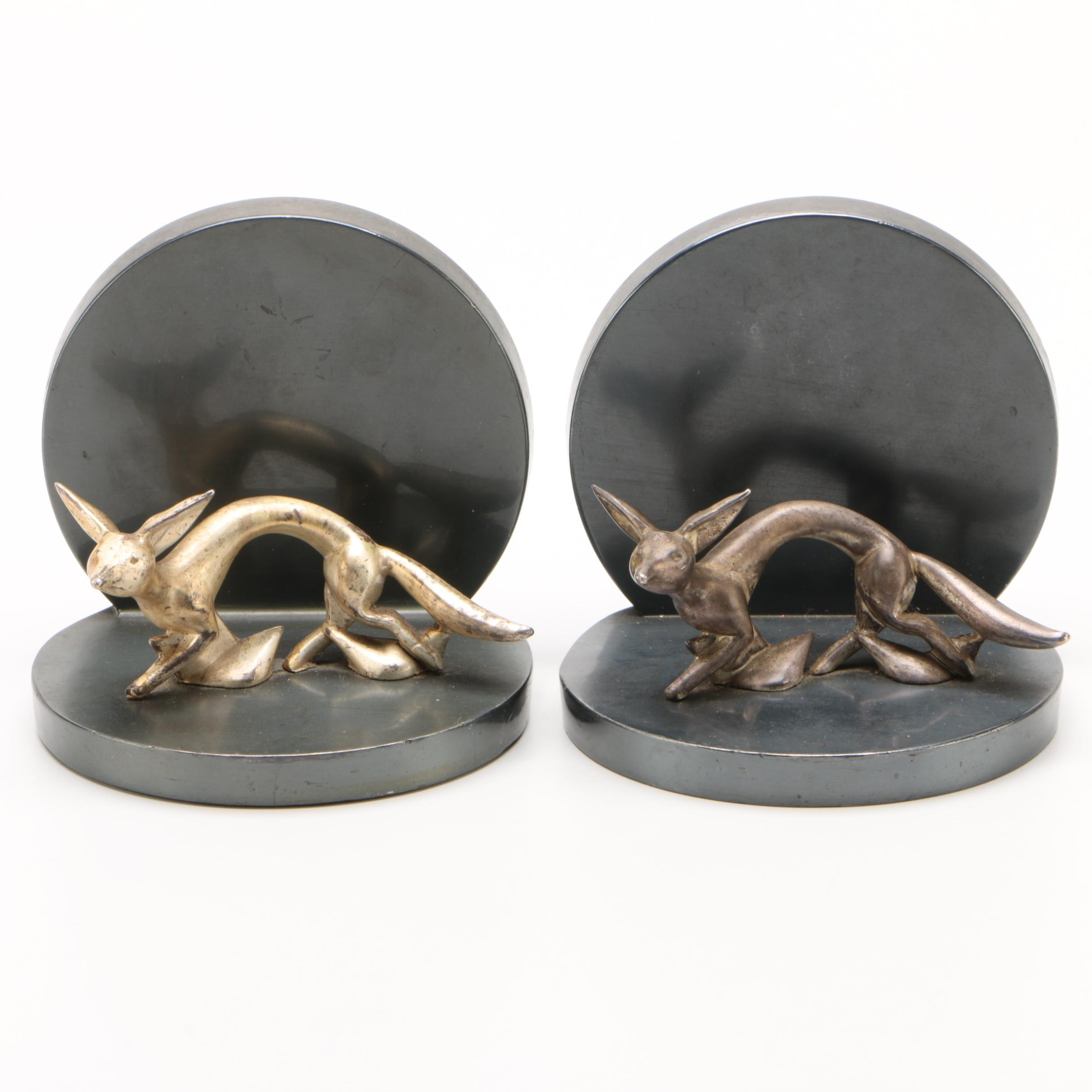 Minimalist Metal Fox Bookends