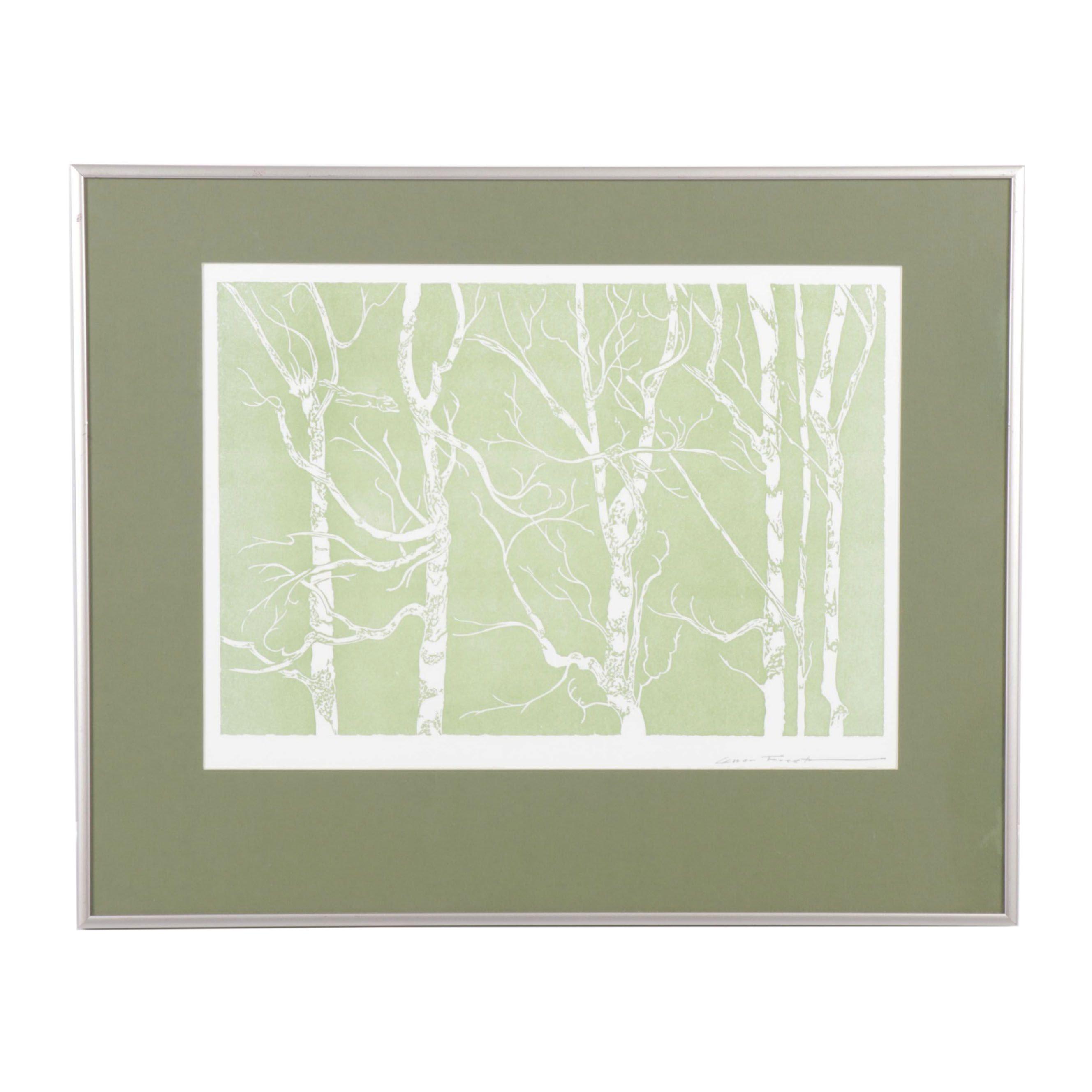 """Victoria A. Marchio Serigraph """"Cedar Forest"""""""