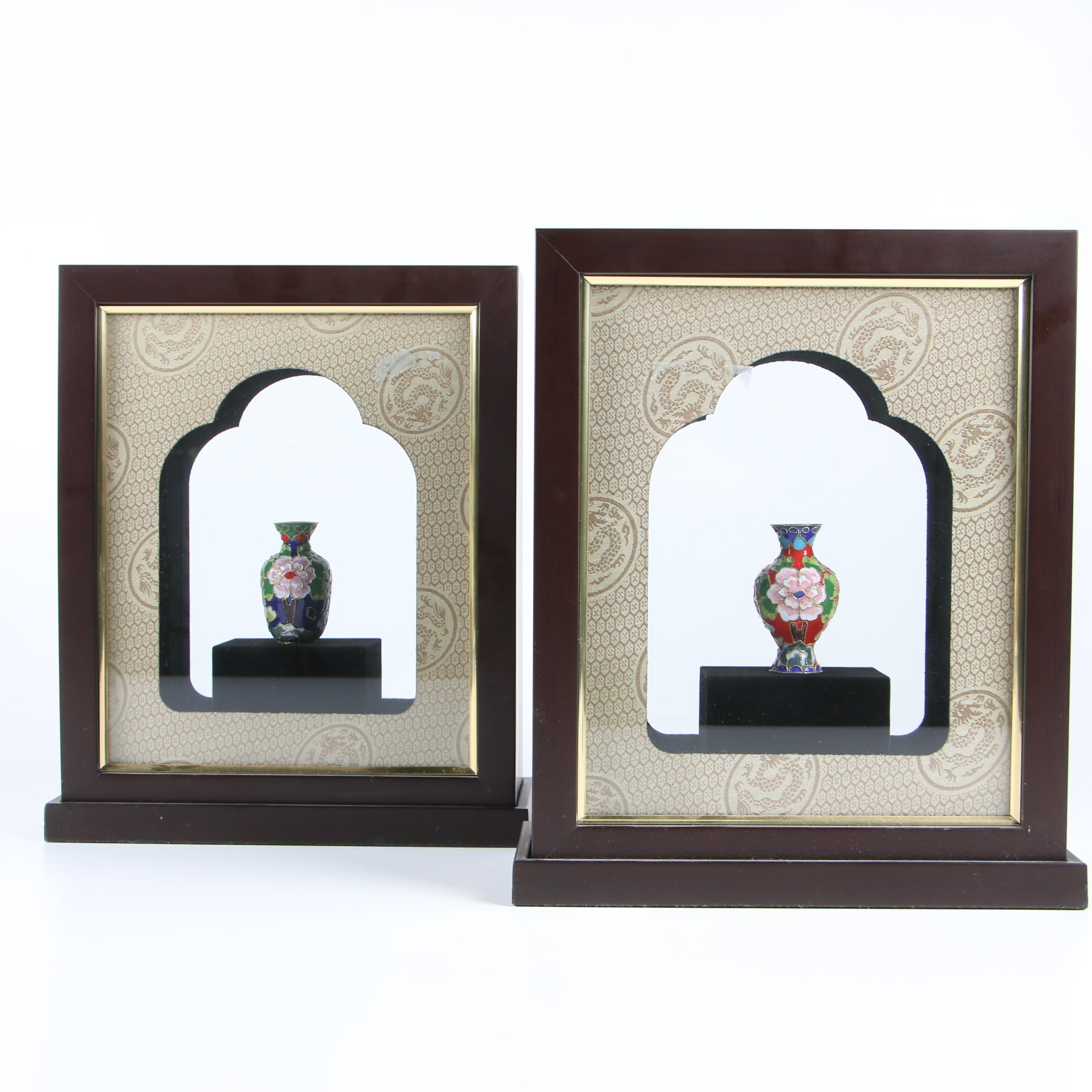 Miniature Chinese Cloissoné Vases in Shadowbox Frames