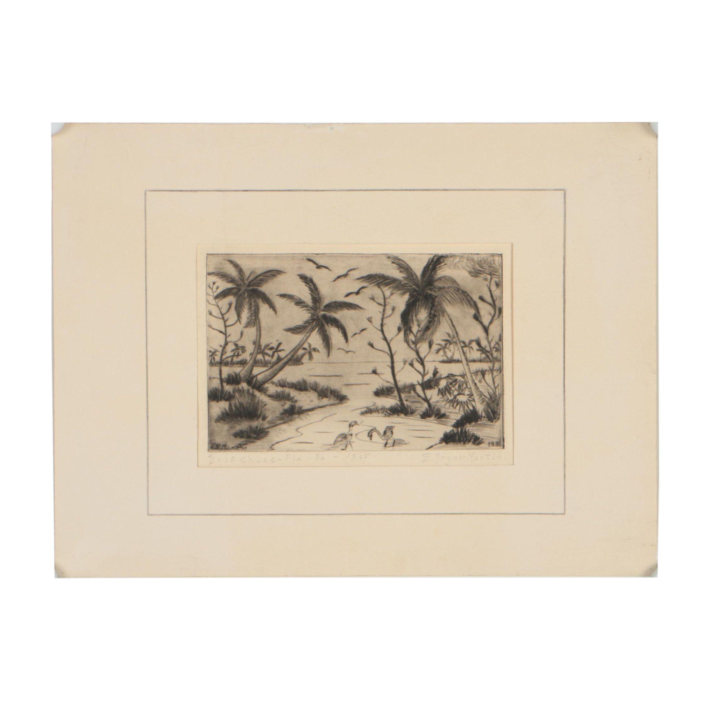 "E. Bryner Martin Drypoint Etching ""Boca Chica - Florida"""