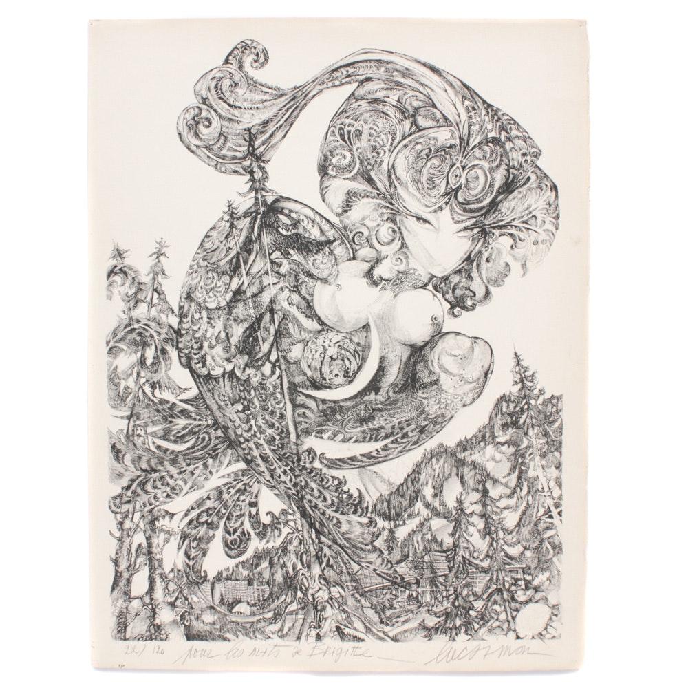 """Luc Simon Lithograph """"Pour Les Nuits de Brigitte"""""""