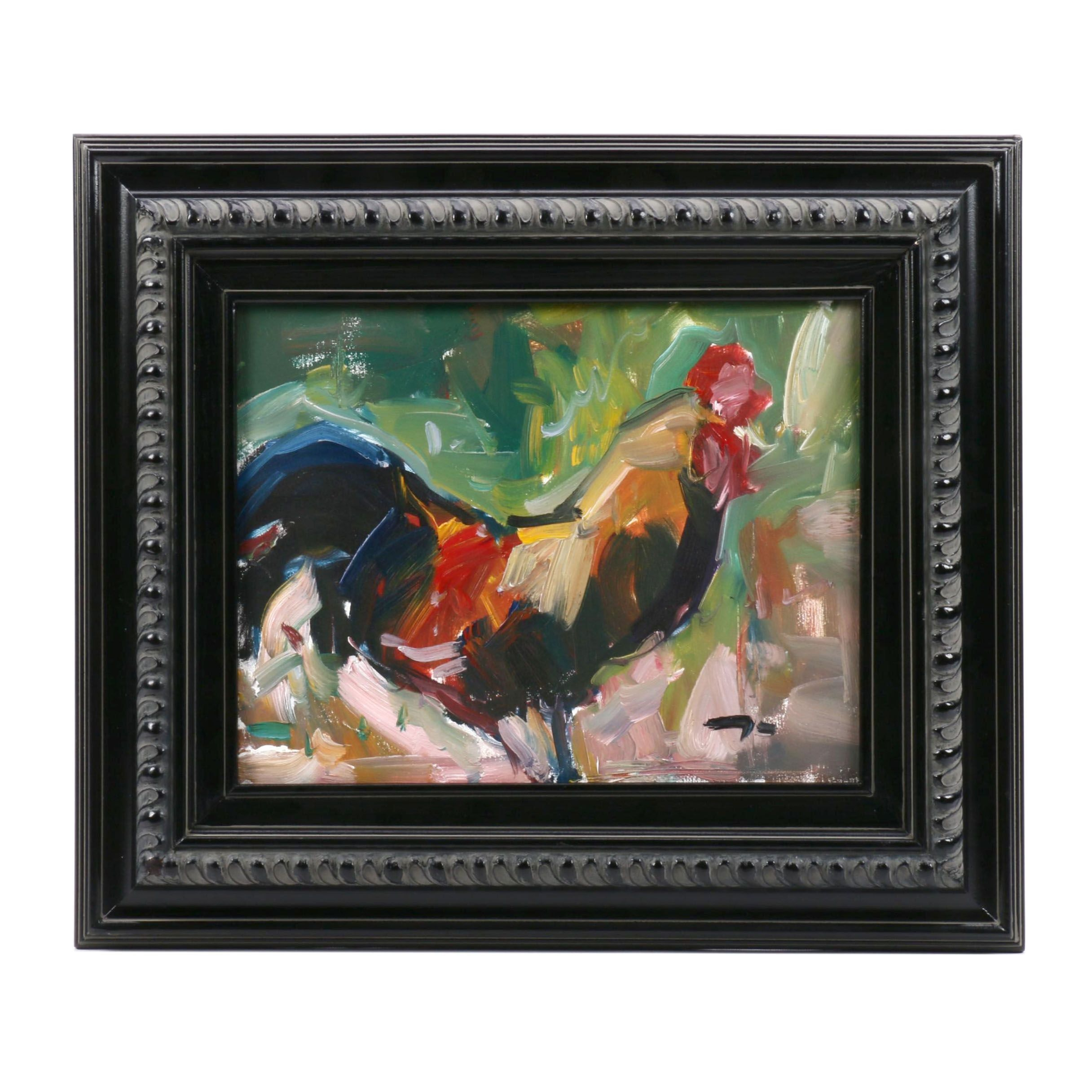 Jose Trujillo Oil Painting of a Rooster