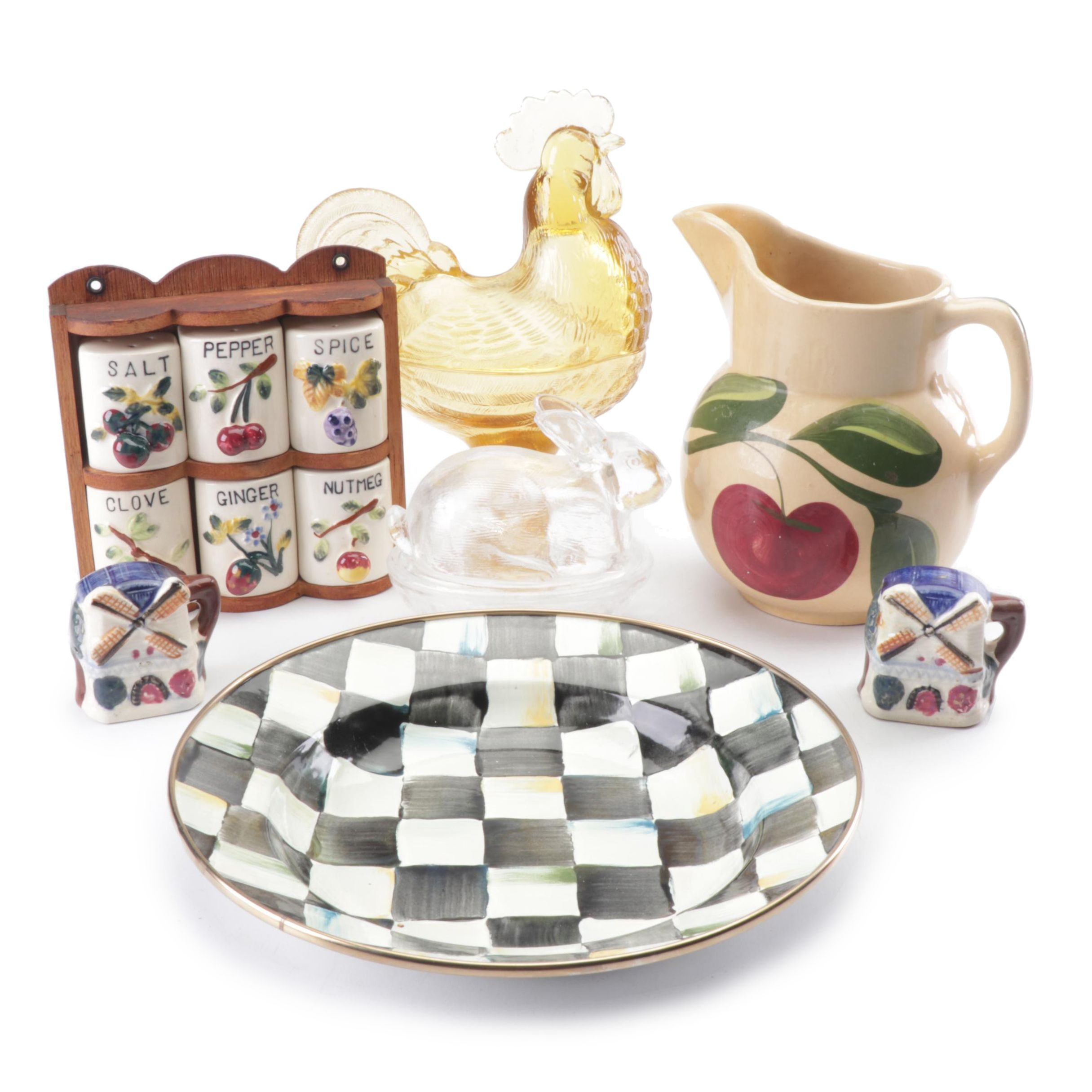 """MacKenzie-Childs """"Courtly Check"""" Bowl, L.E. Smith Glass Animal Dishes and More"""