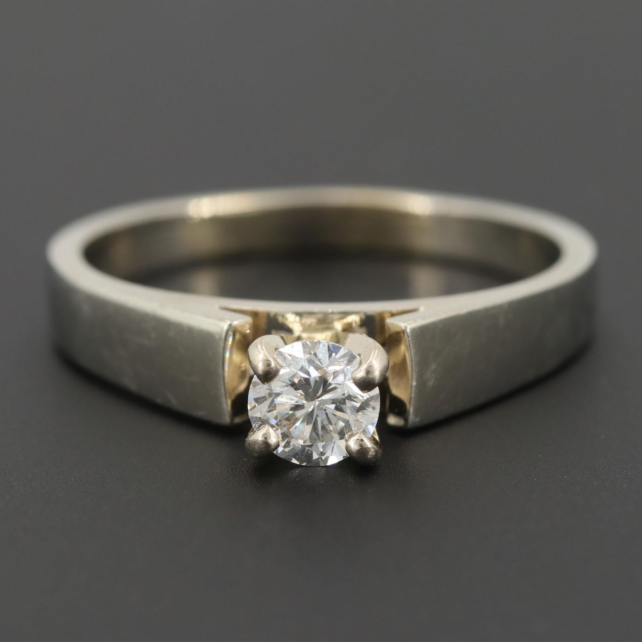 14K White Gold Diamond Solitaire Ring with 14K Yellow Gold