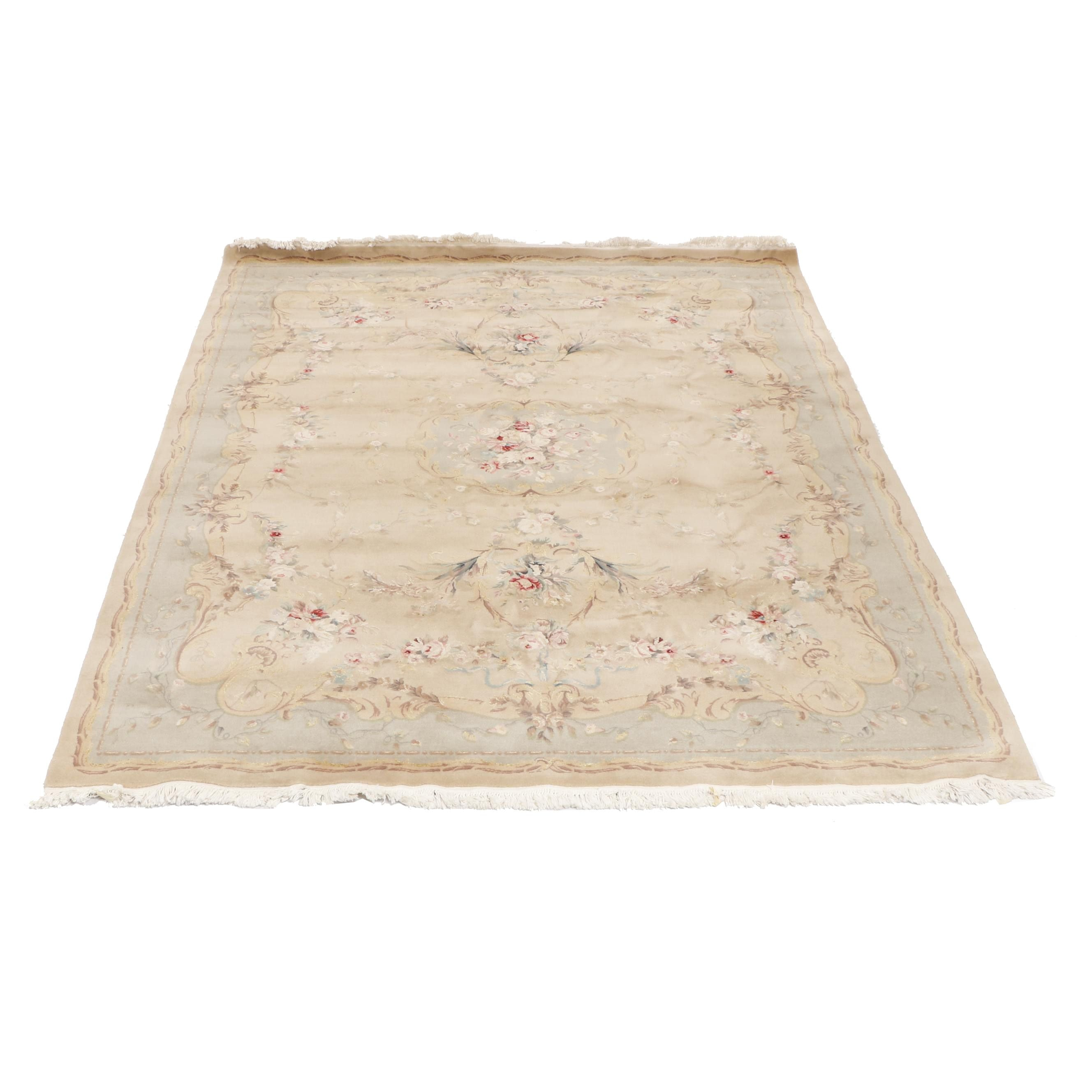 Hand-Knotted European Style Chinese Floral Wool Area Rug