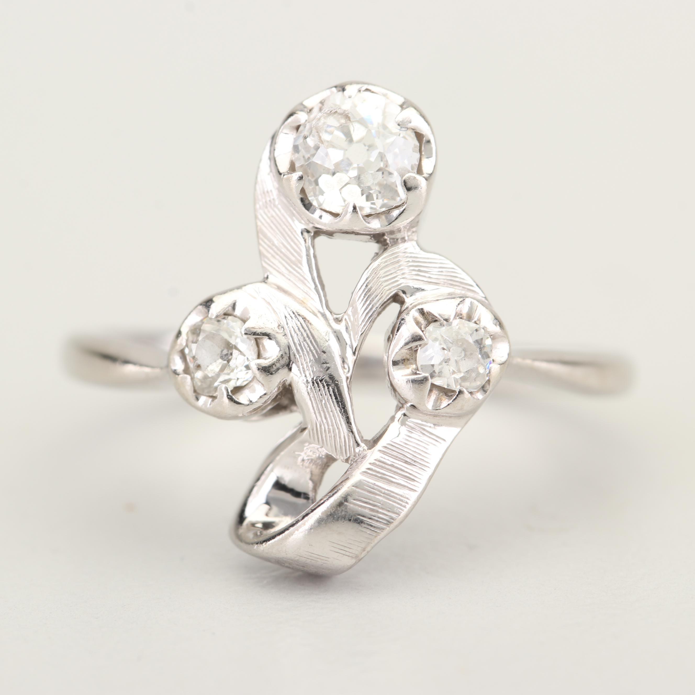 Vintage 14K White Gold Old Mine Cut Diamond Ring