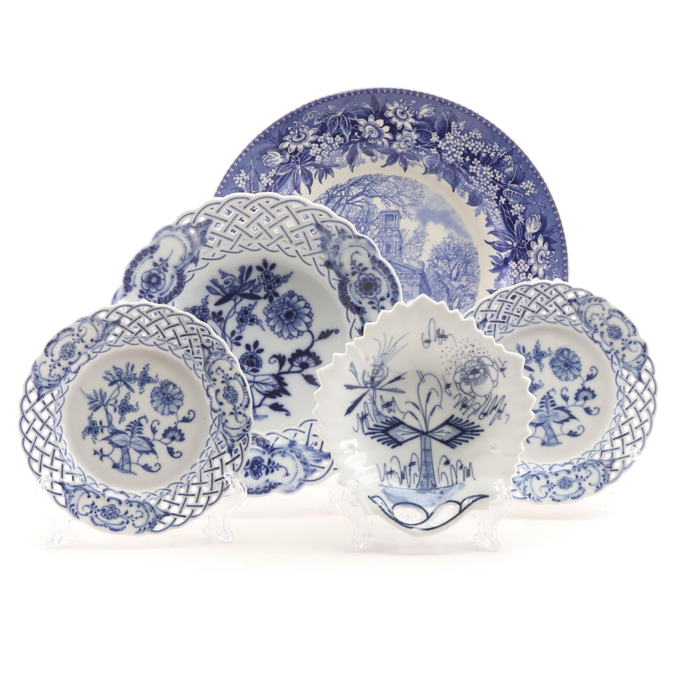 Blue and White Porcelain and Ceramic Tableware including Meissen and Wedgwood