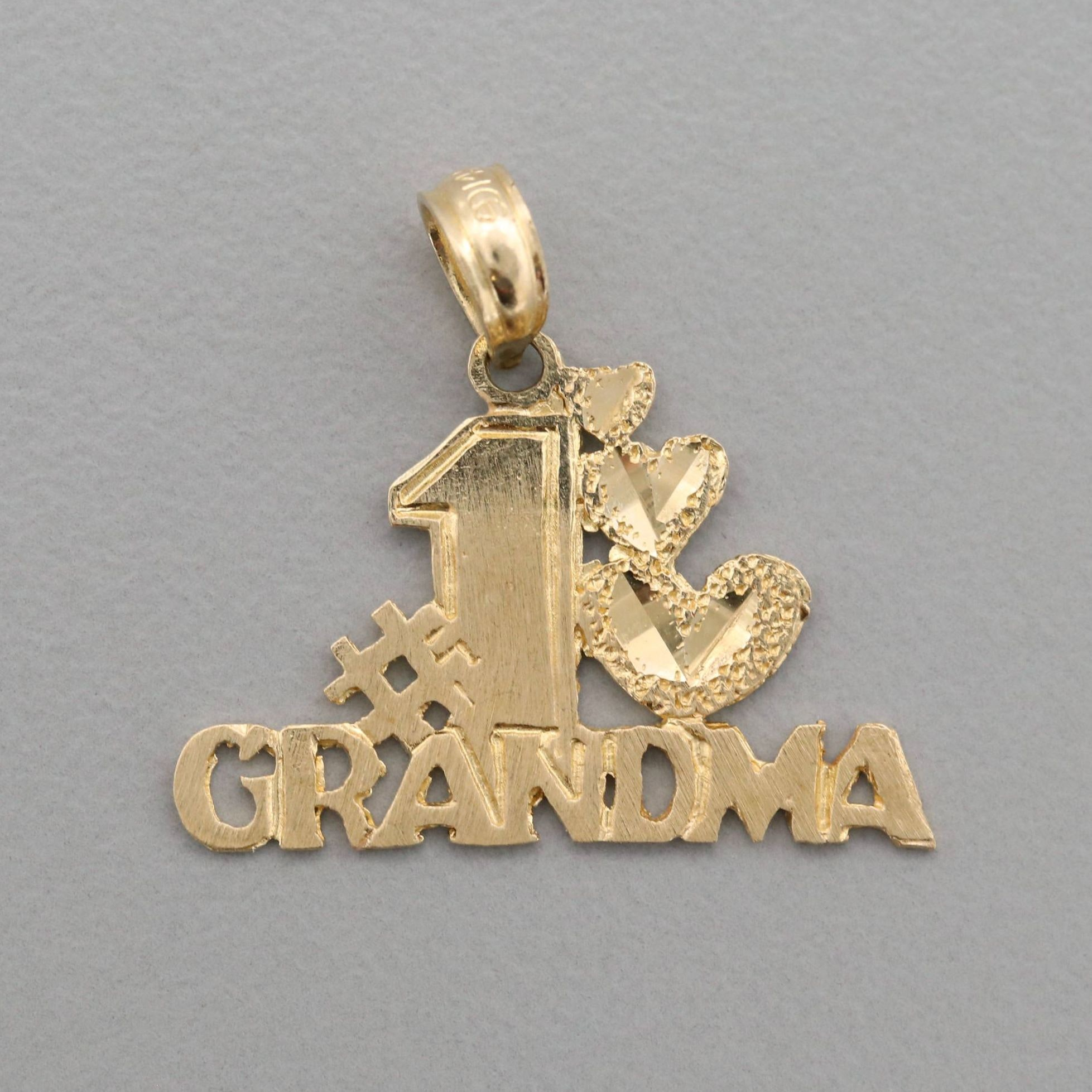 "14K Yellow Gold ""#1 Grandma"" Pendant"