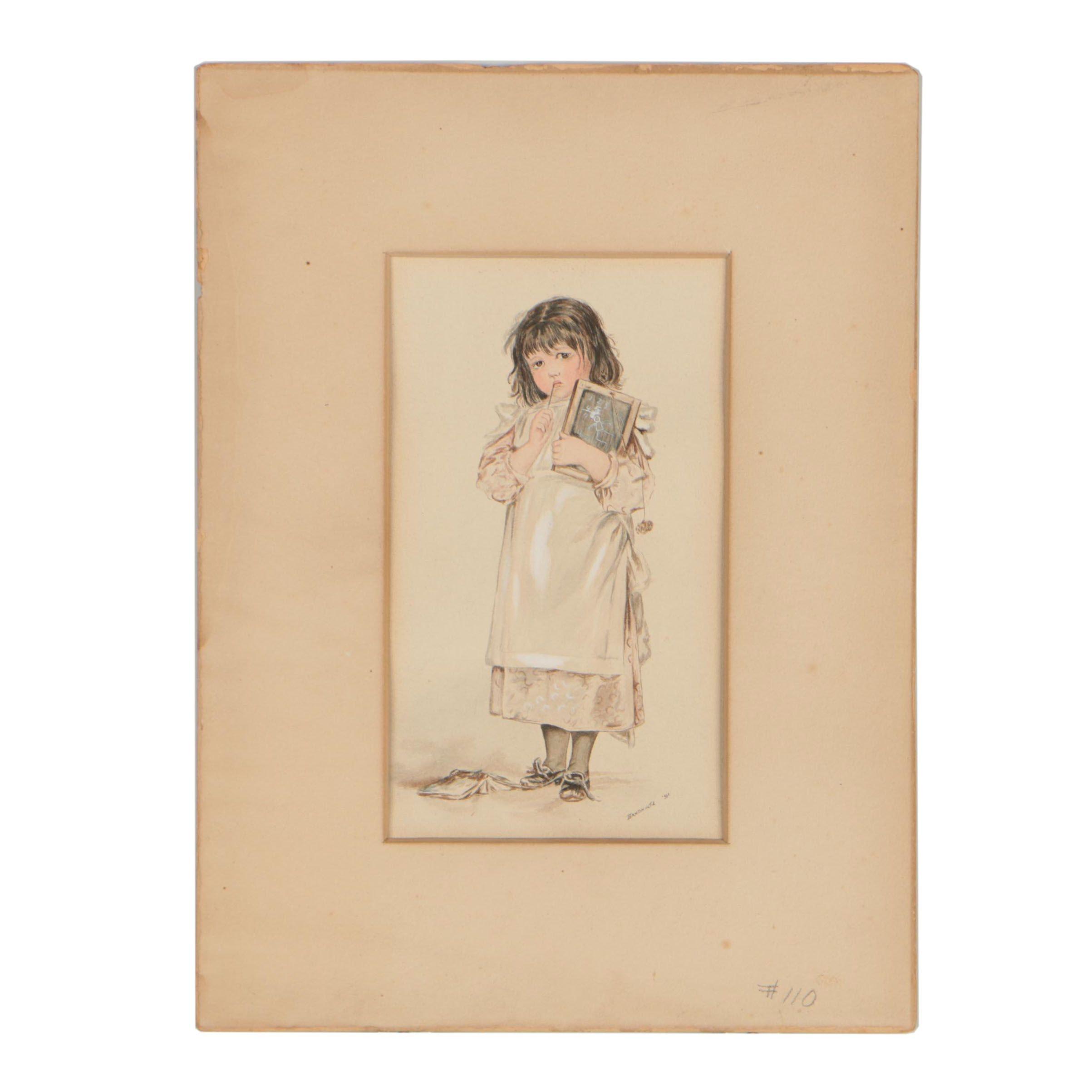 1891 Copy Watercolor Portrait after Frances Brundage Illustration