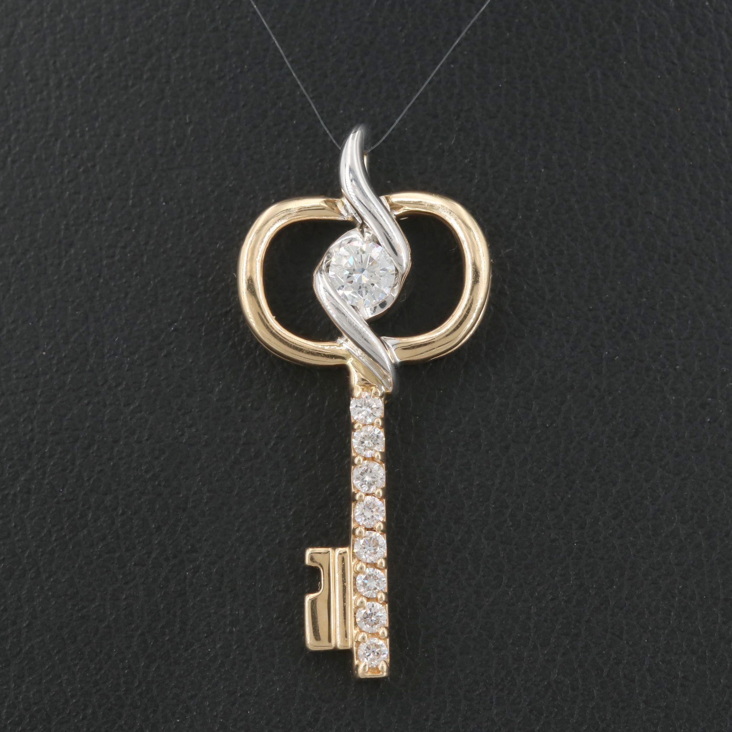 14K Yellow Gold Diamond Key Pendant with White Gold Accents