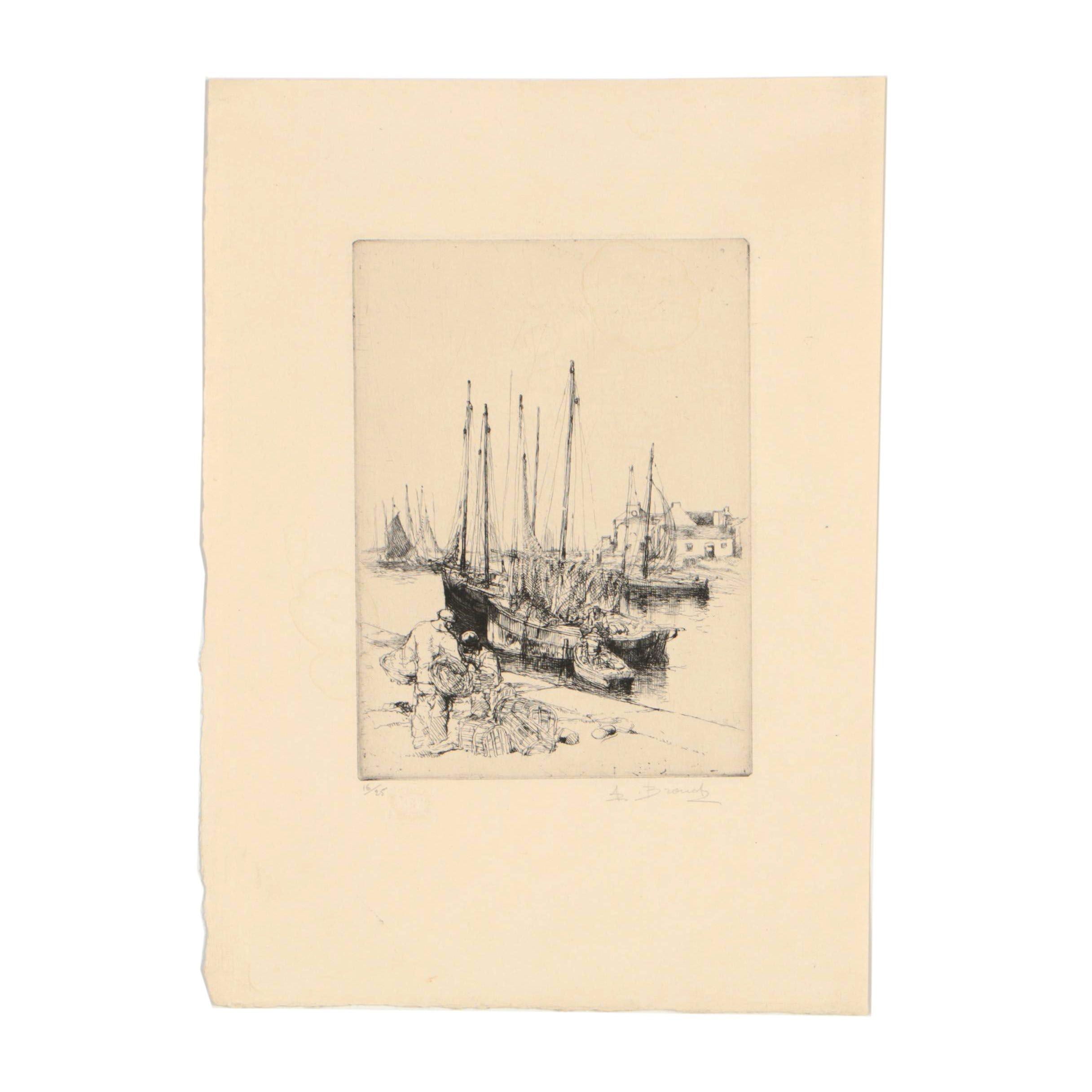 Auguste Brouet Etching of Harbor Scene