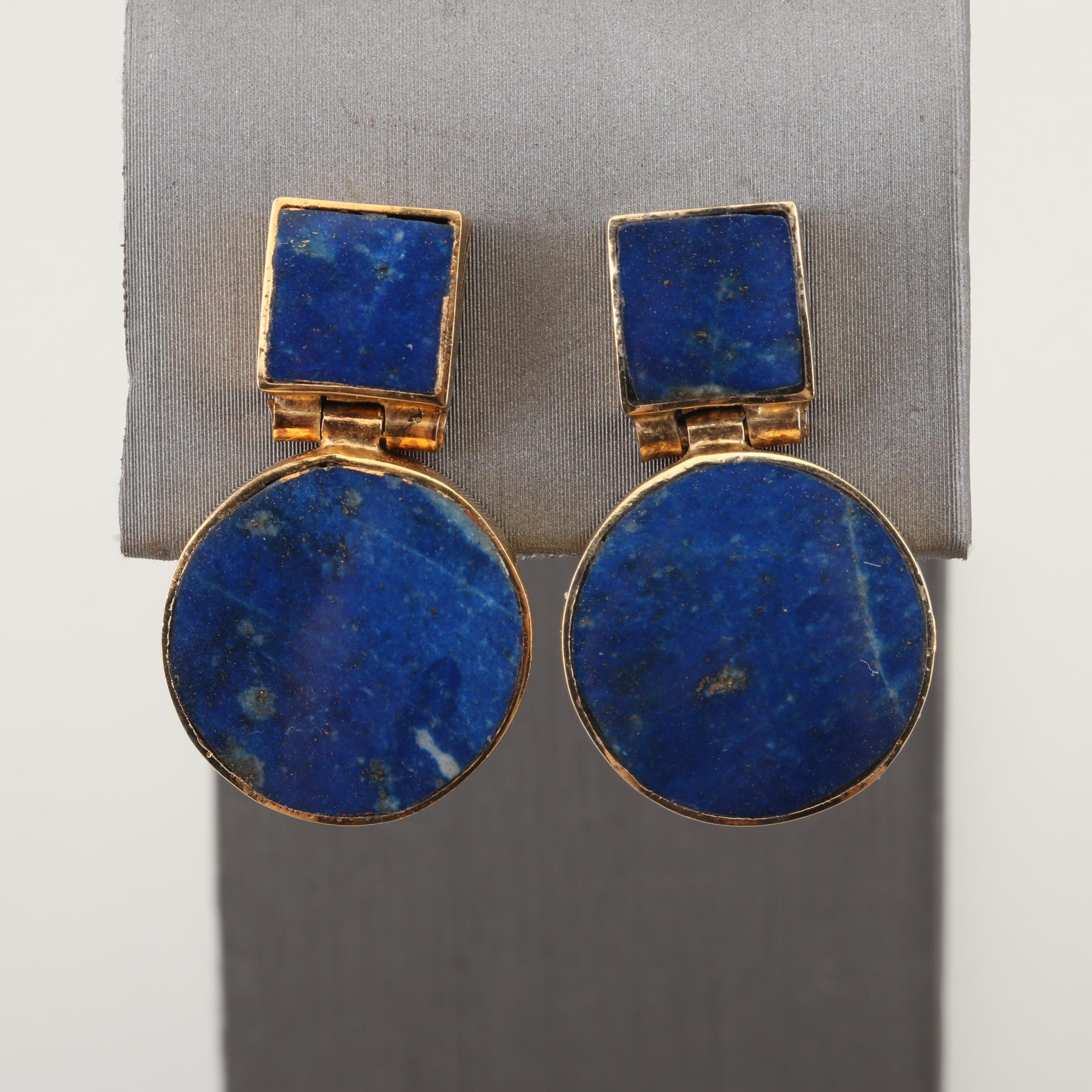 Gold Tone Lapis Lazuli Dangle Earrings