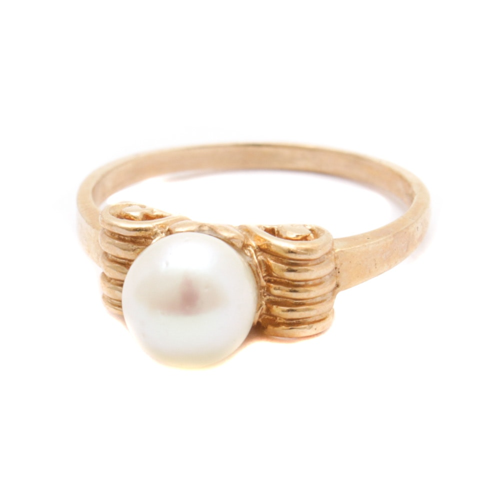 14K Yellow Gold Pearl Ring, Vintage
