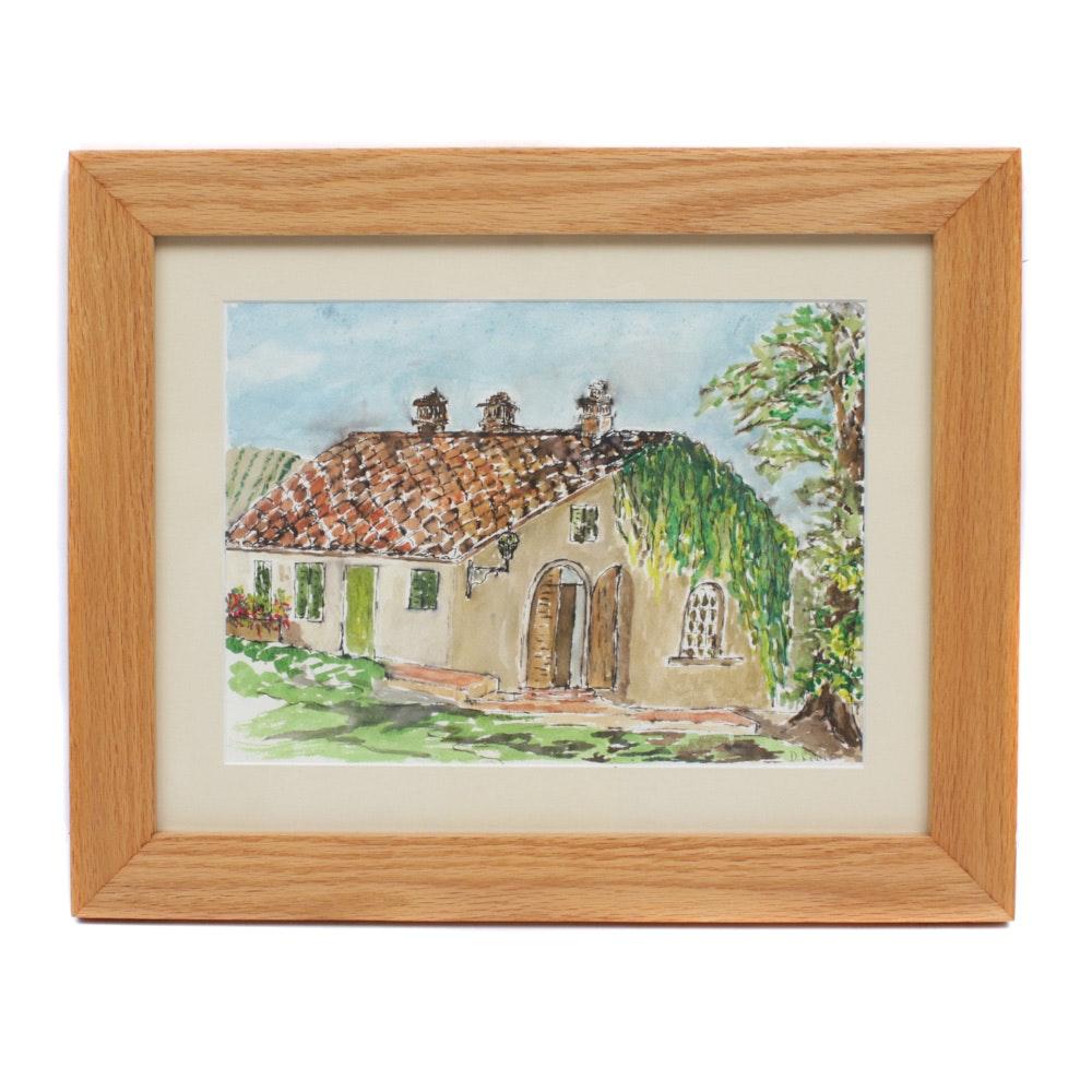 "1998 Watercolor Painting ""Villa Miranda"""