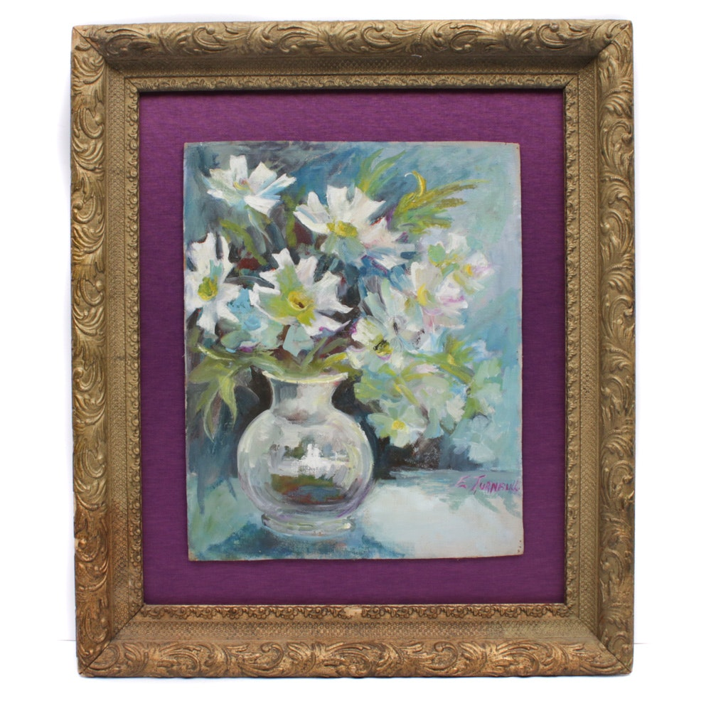 Early Mid 20th Century Floral Still Life Oil Painting
