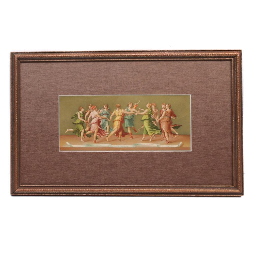 "Circa 1900 Polychrome Lithograph ""The Greek Goddesses"""
