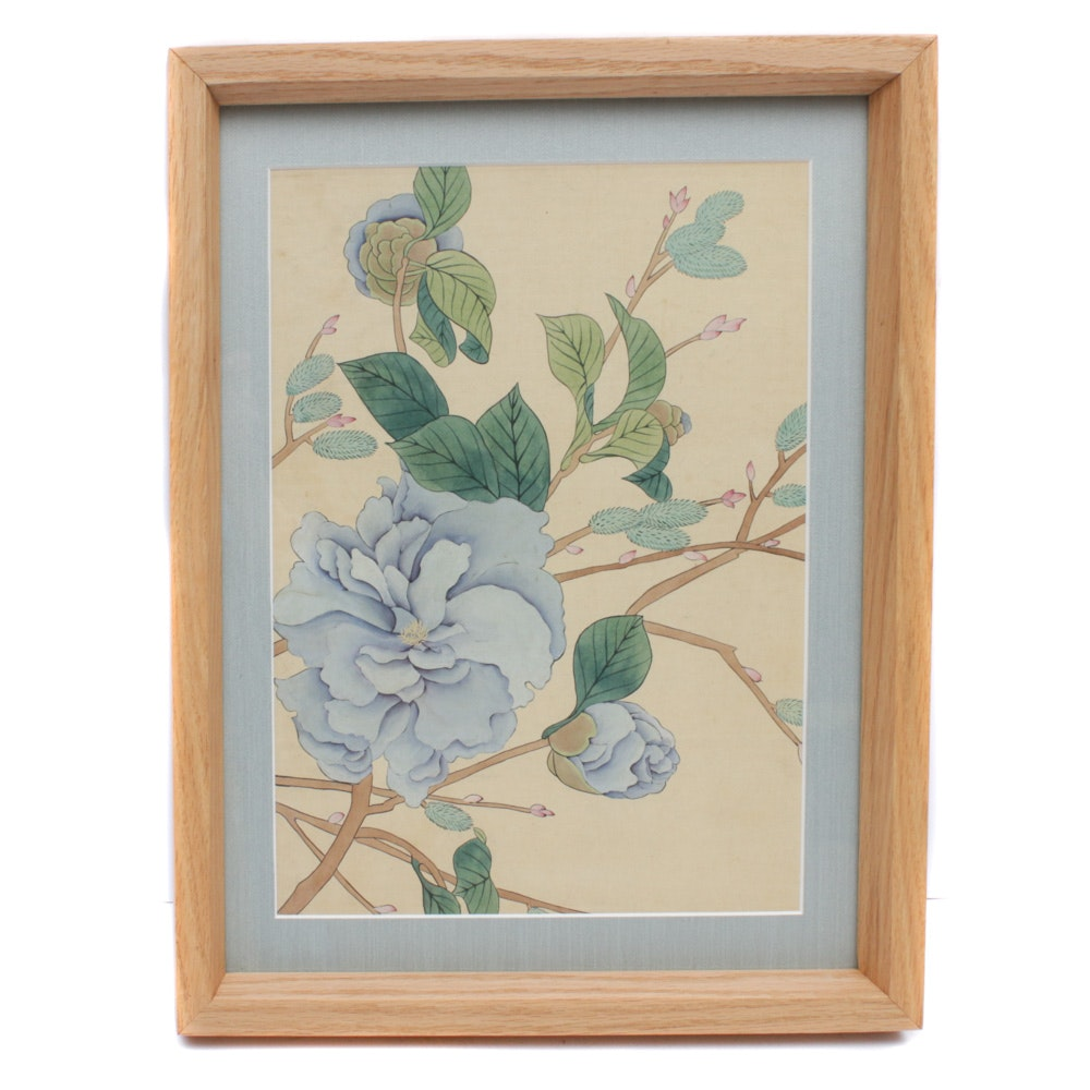 Mid 20th Century Japanese Floral Watercolor Painting