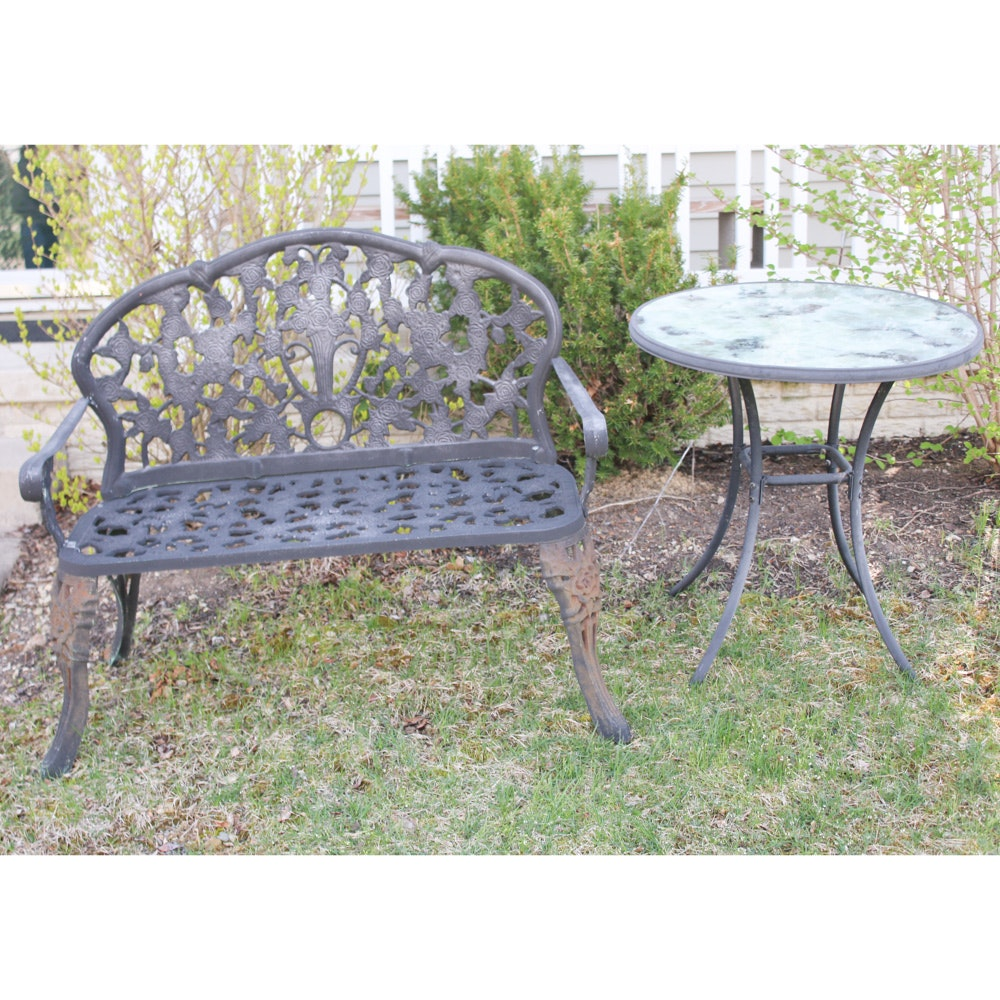 Cast Iron Bench and Tubular Aluminium Bistro Table