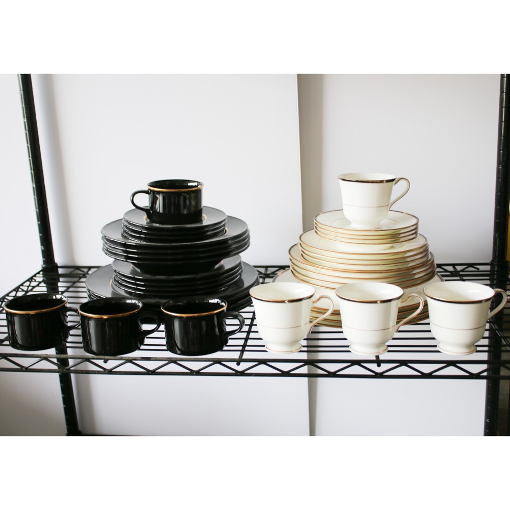 """Mikasa """"Matrix Black"""" and """"Academy"""" Dinner Services for Four, Made in Japan"""