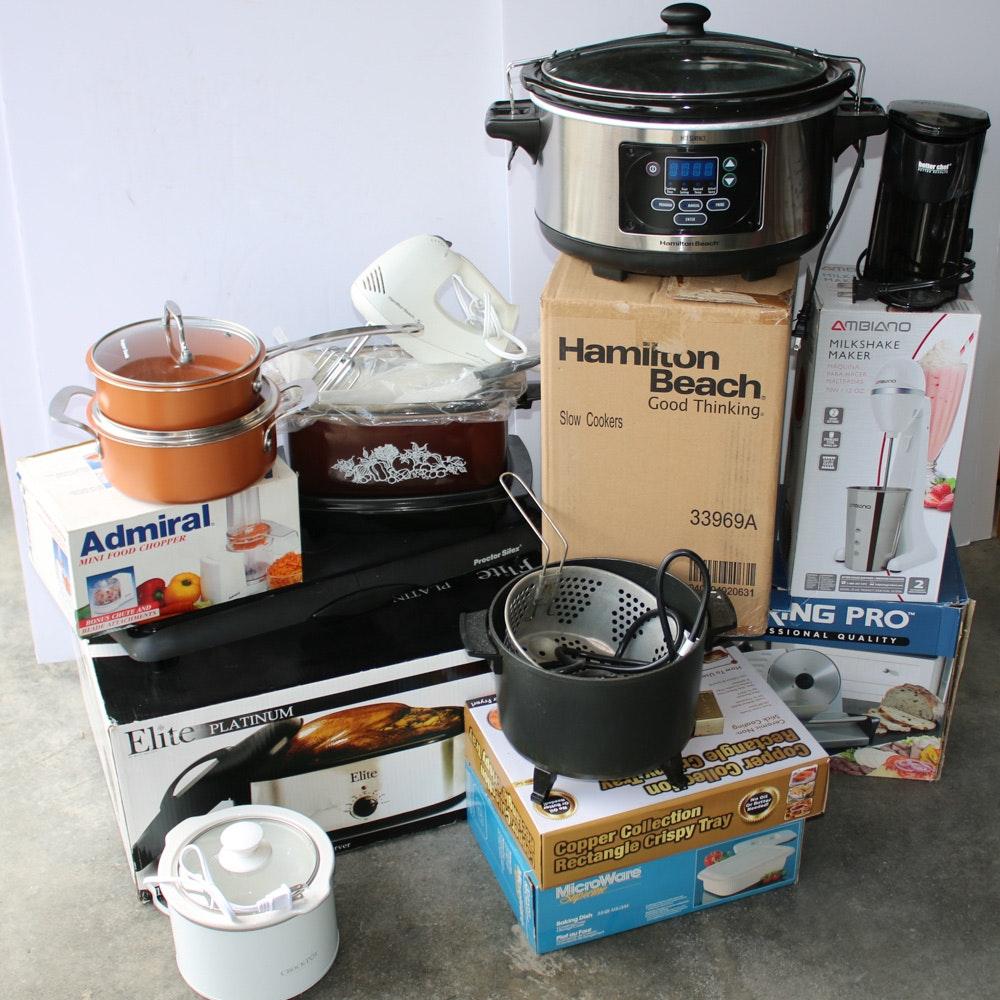 Elite Platinum Roaster, Crock-Pot, Waring Pro Slicer, and Other Small Appliances