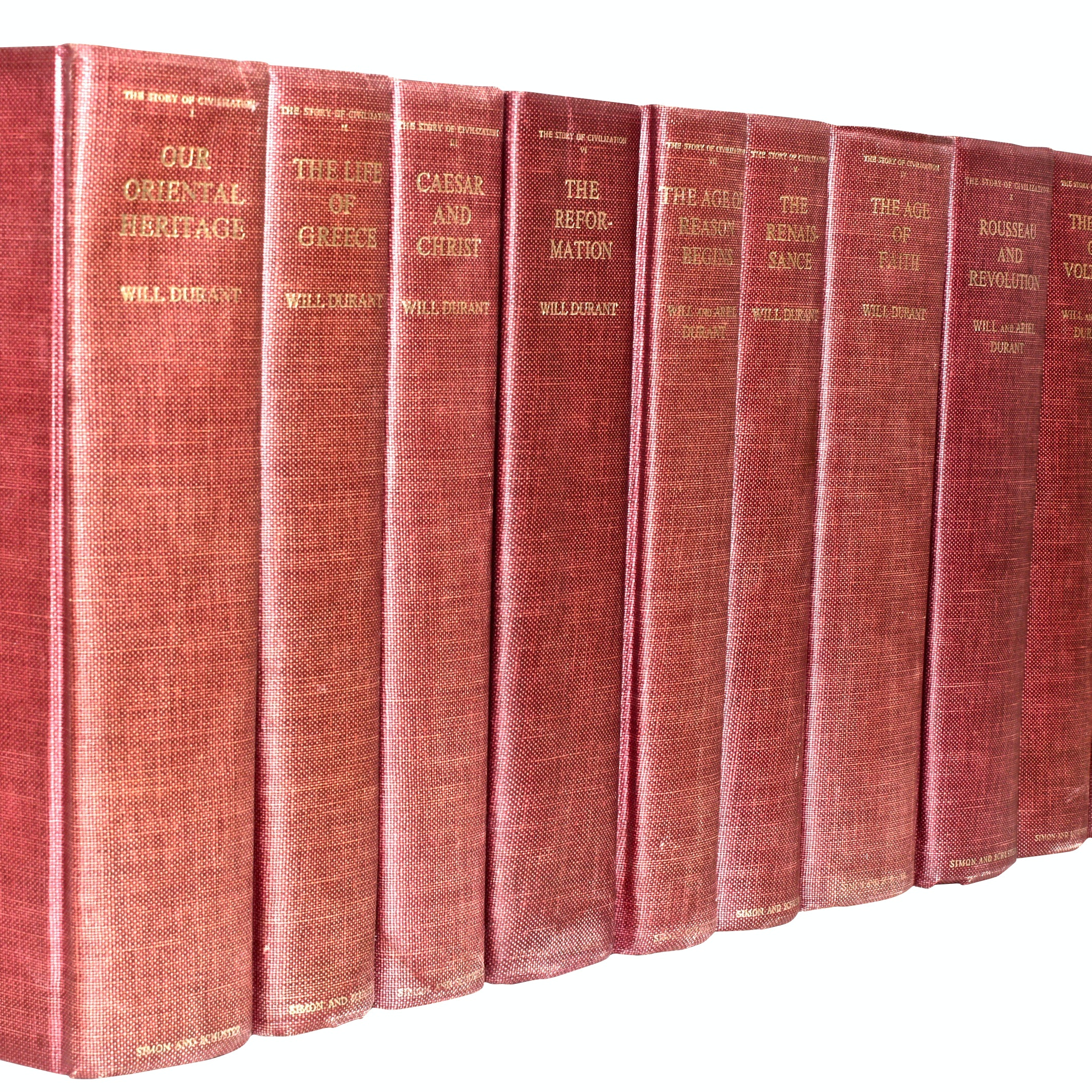 """Vintage """"The Story of Civilization"""" by Will and Ariel Durant, 10 Volumes"""