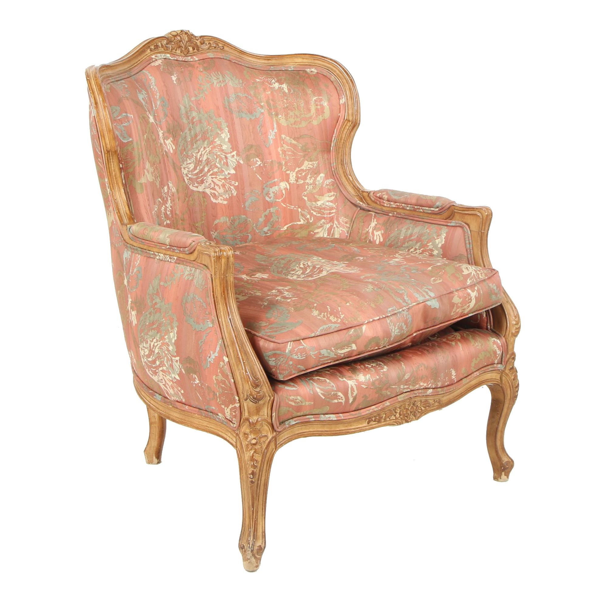 French Provincial Style Carved Birch Frame Upholstered Armchair, Mid-20th C.