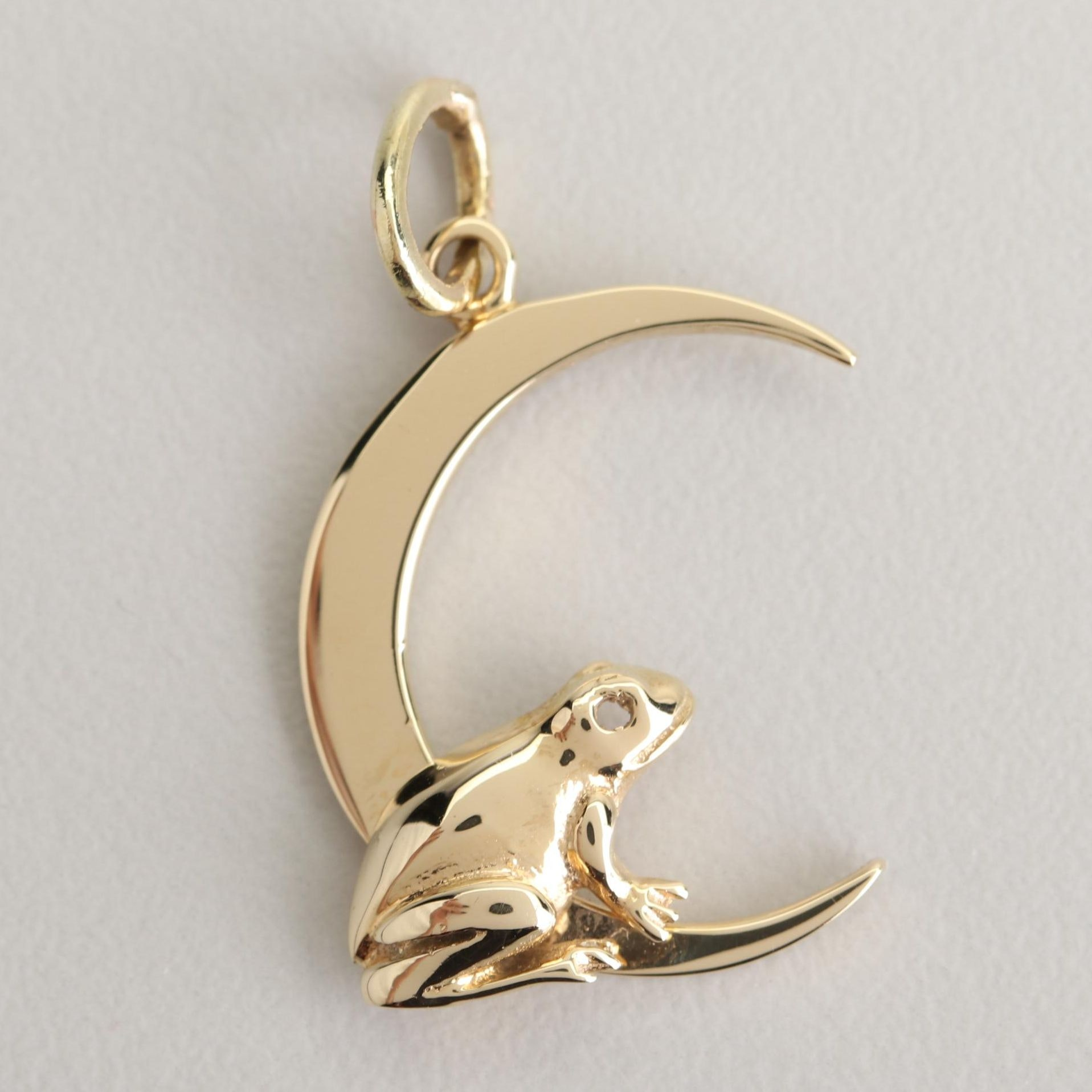 14K Yellow Gold Frog and Crescent Moon Pendant