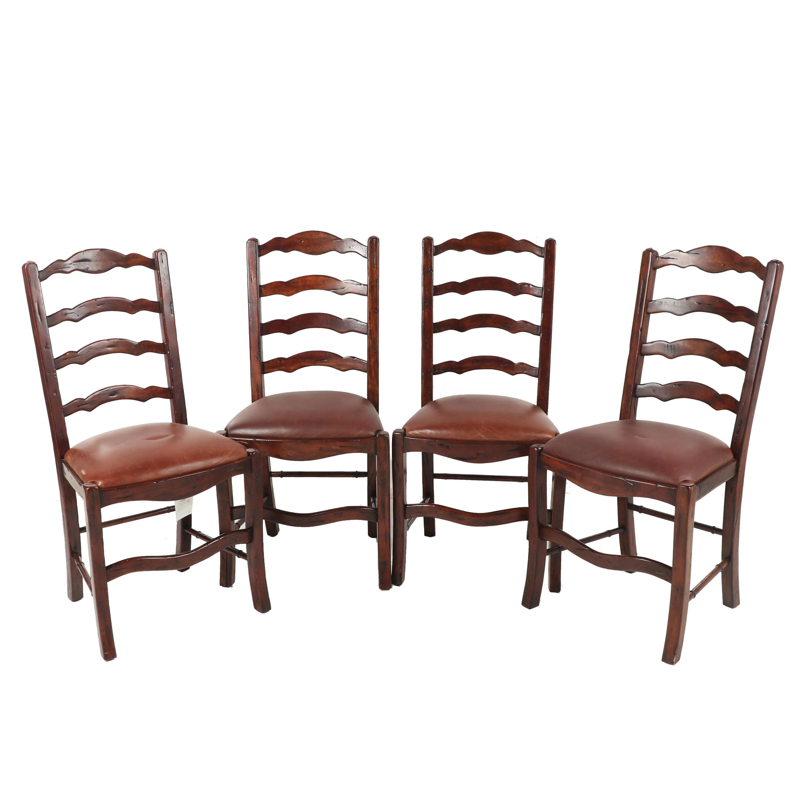 Four Matching Wooden Dining Chairs with Leather Seats