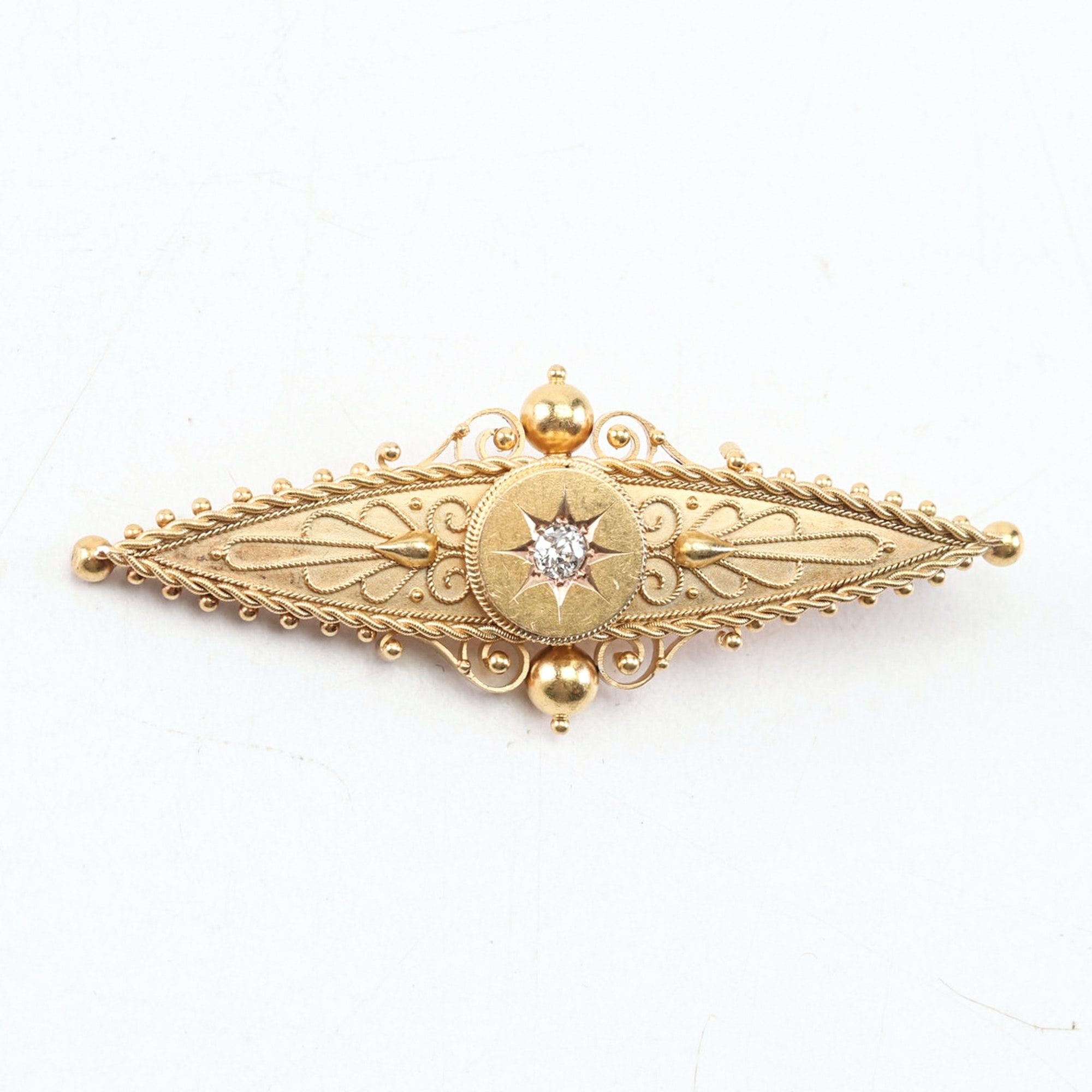 Vintage 14K and 18K Yellow Gold Converted Diamond Pendant