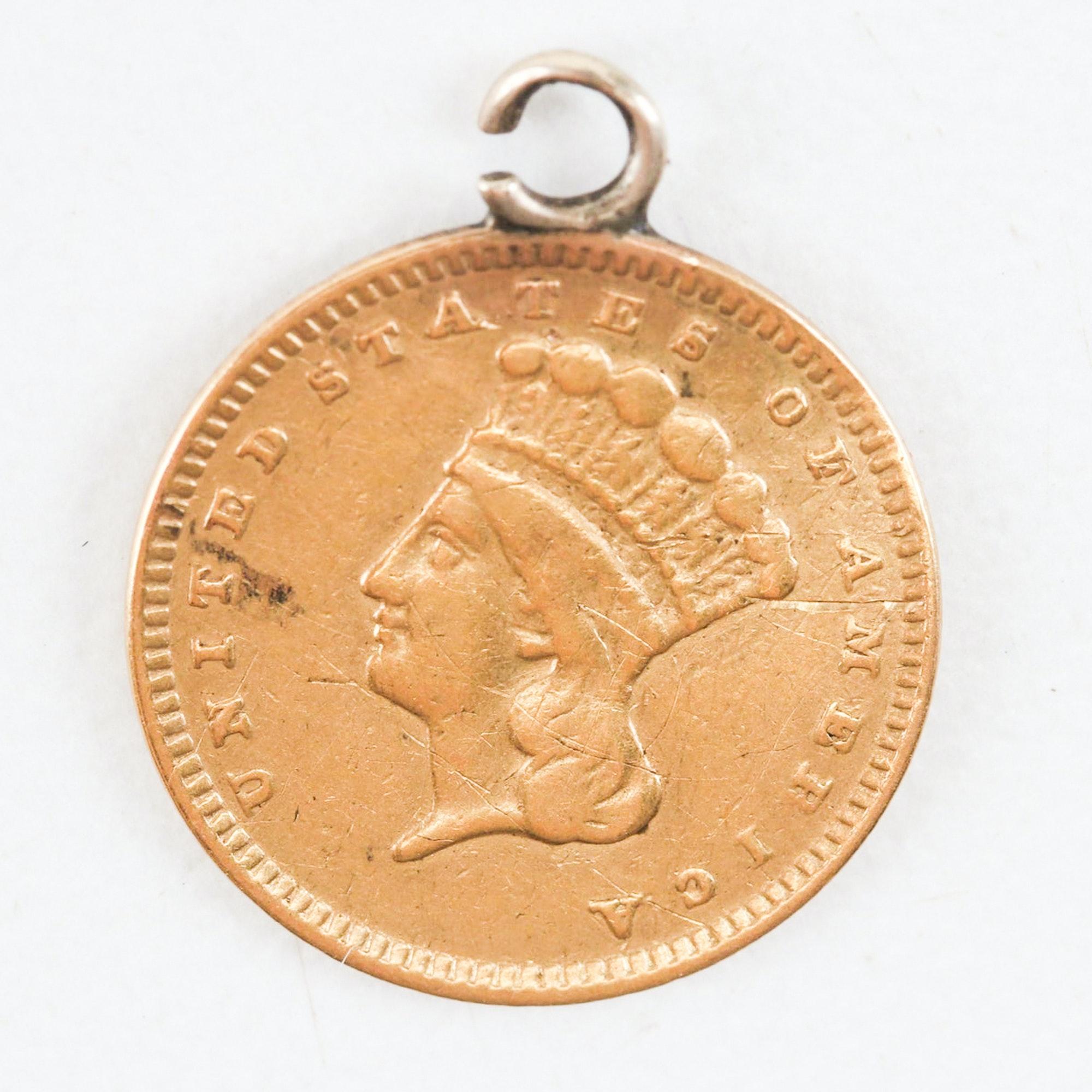 "Indian Princess Head $1 ""Love Token"" Gold Pendant"