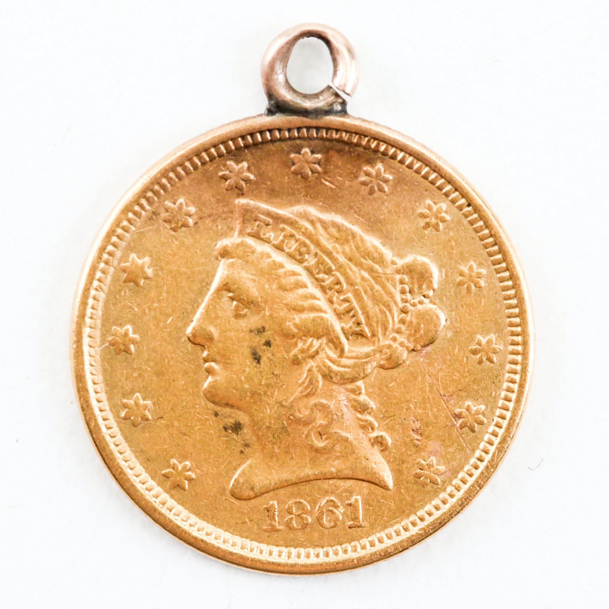 "1861 Liberty Head $2.5 ""Love Token"" Gold Pendant"