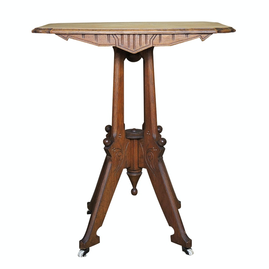 Victorian, Eastlake Style Birch Table, Early 20th Century