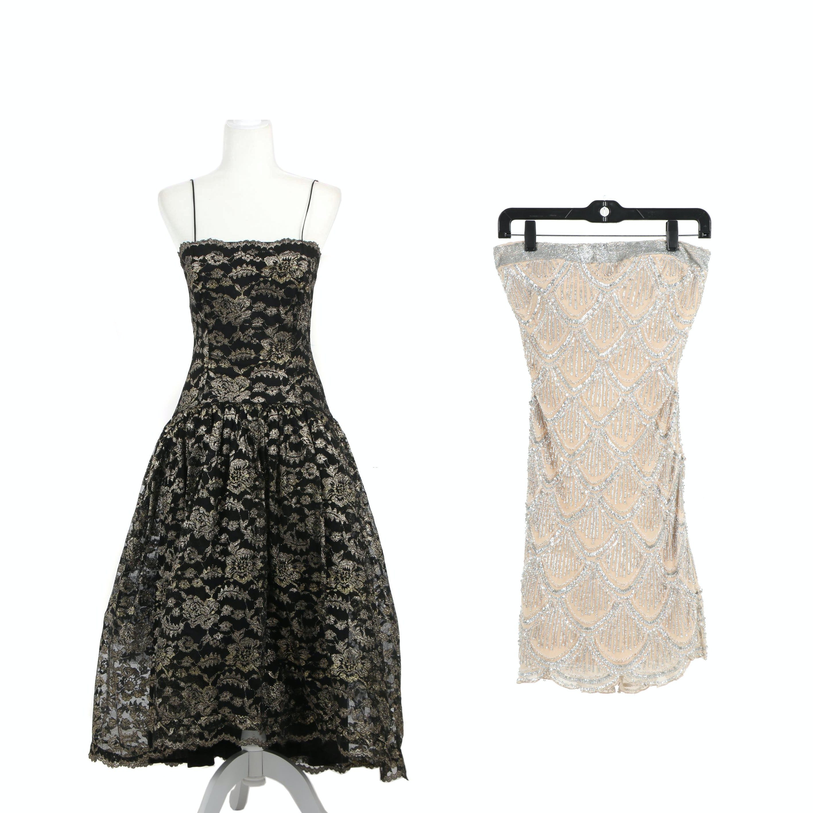 Black and Metallic Gold Tulle Dress and Basix Black Label Sequined Silk Dress