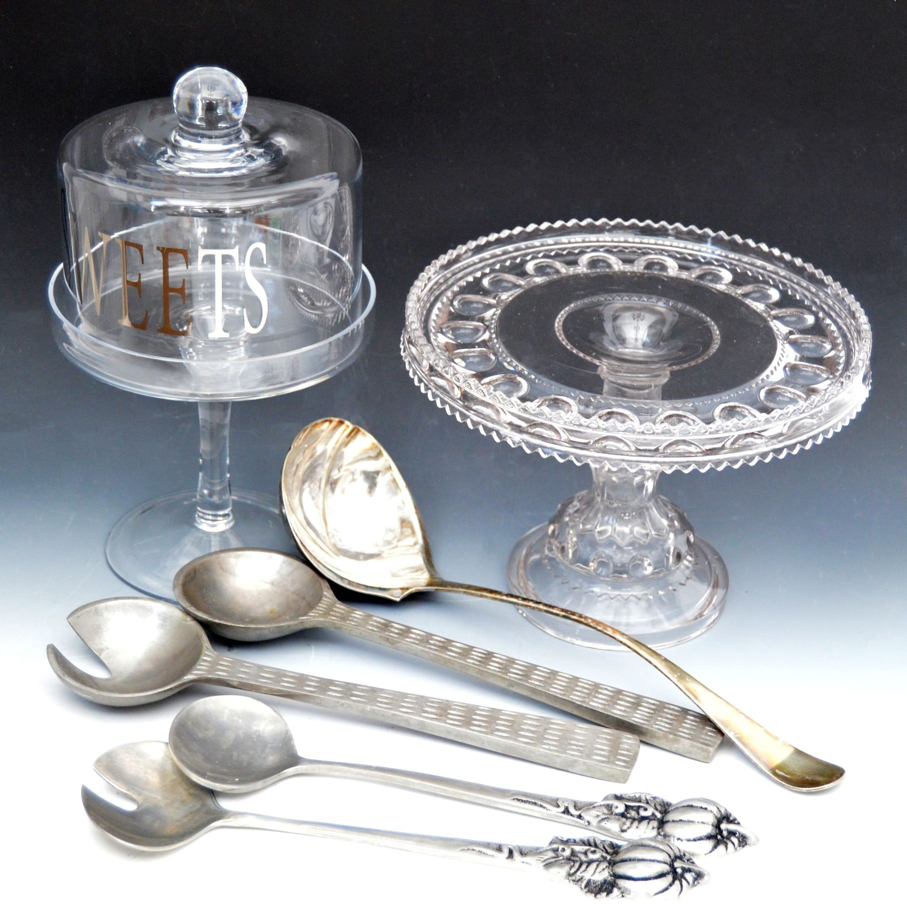 Pressed Glass Serveware with Cake Plate, Metal Serving Utensils
