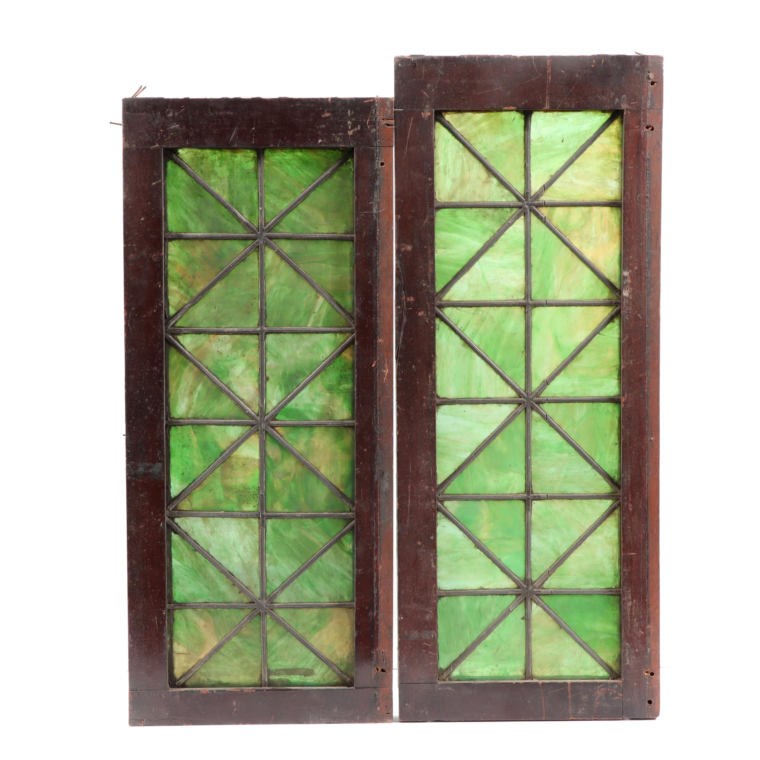 Pair of Green Stained Glass Window Panels