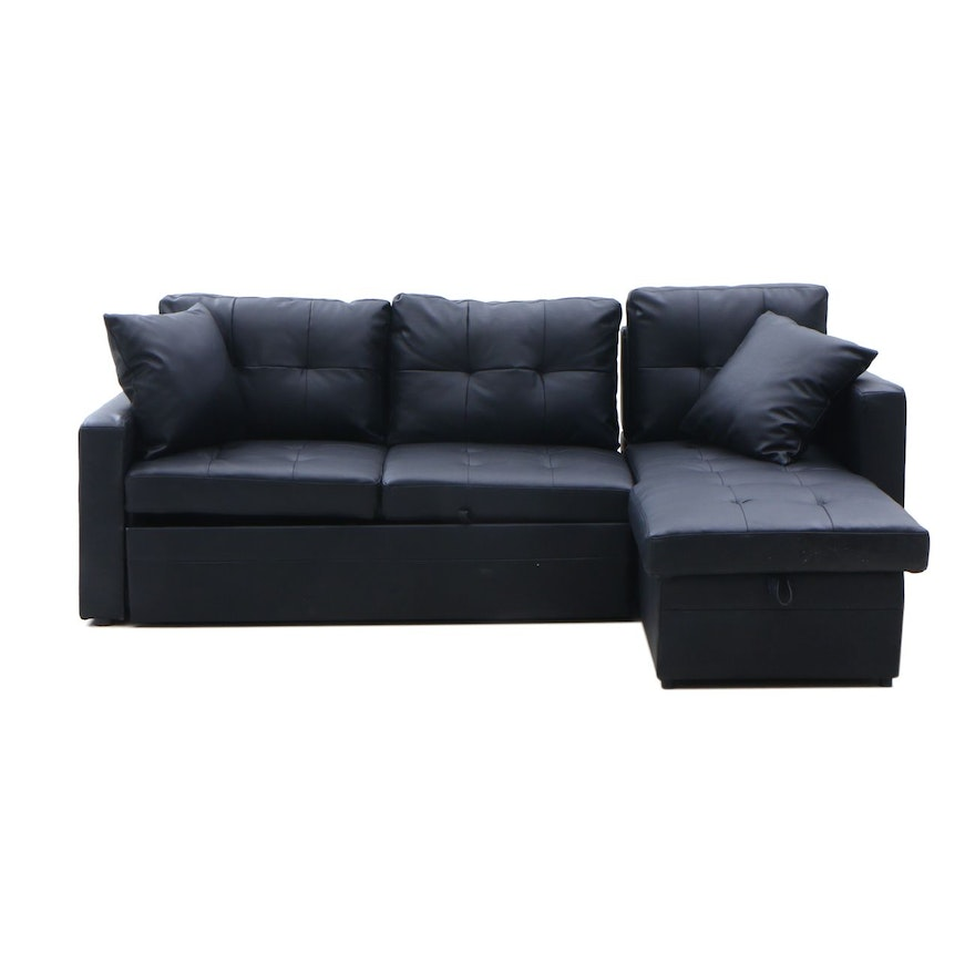 Contemporary Faux Leather Sectional Sleeper Sofa by Merit