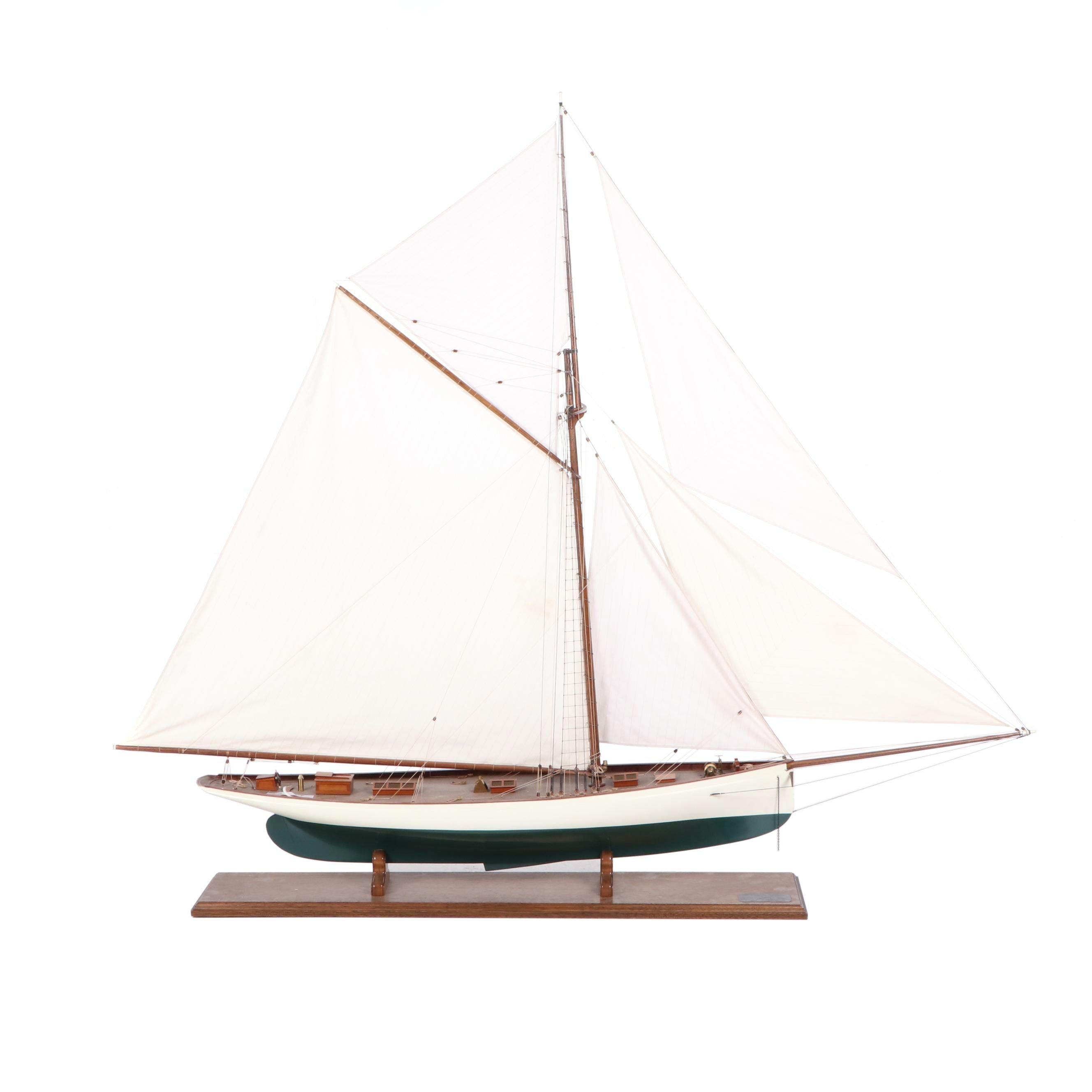 "Scale Model 1885 America's Cup Yacht ""Puritan"""