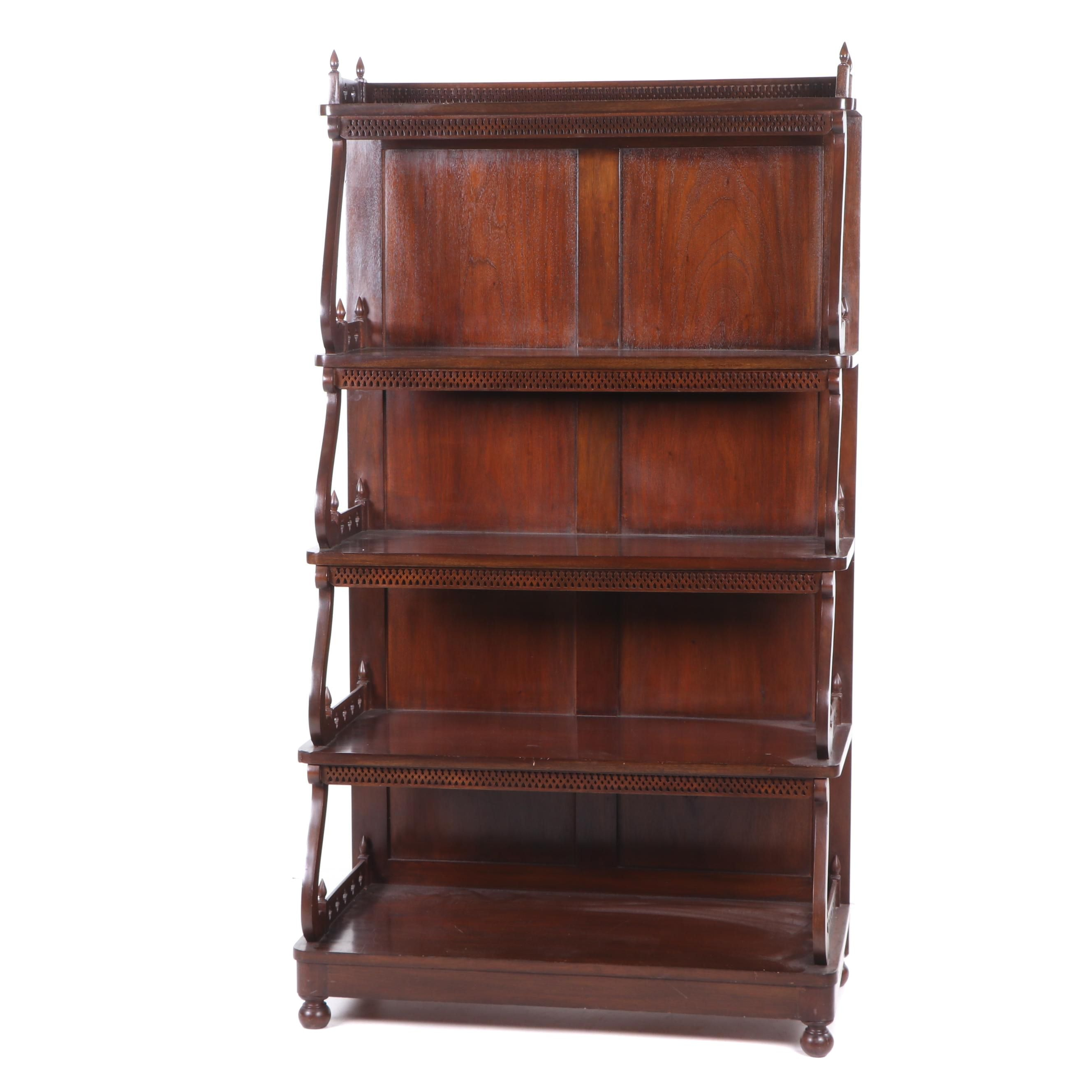 Replica Victorian Bench Made Mahogany Bookcase, Late 20th Century
