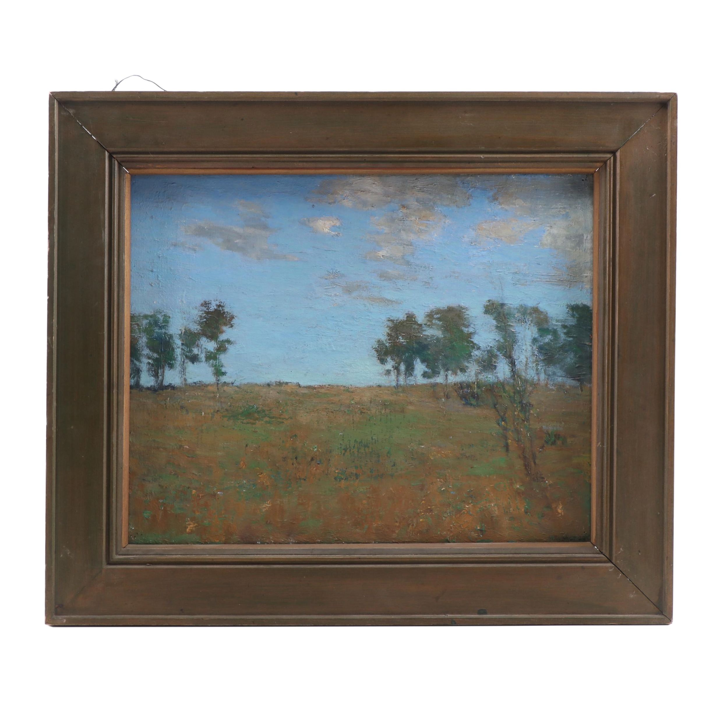 """1919 Landscape Oil Painting """"Last Day of the Old Year"""""""